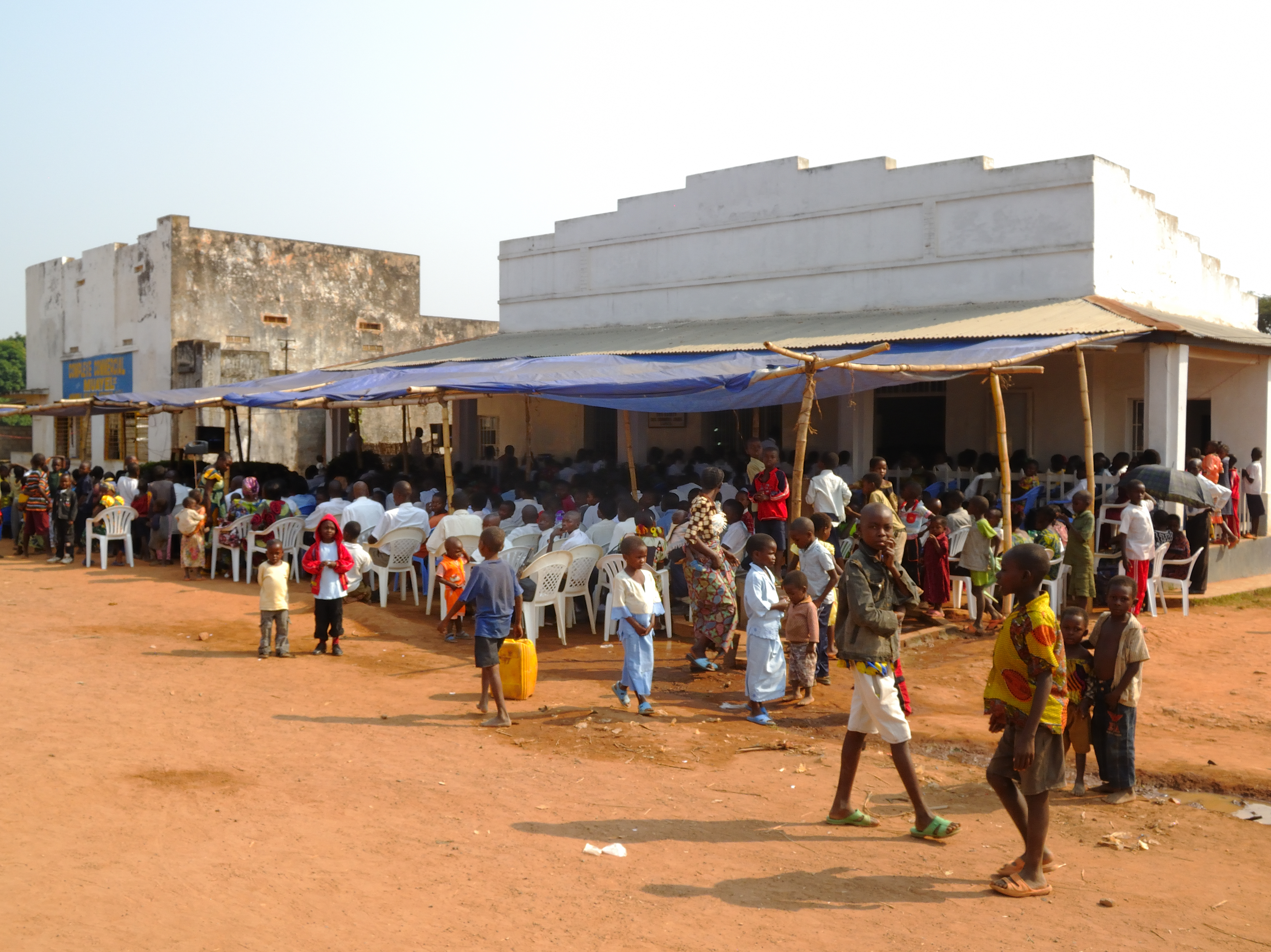 Church members in Luputa, Democratic Republic of the Congo meet at the creation of the tenth Congolese stake in Africa on June 26, 2011.