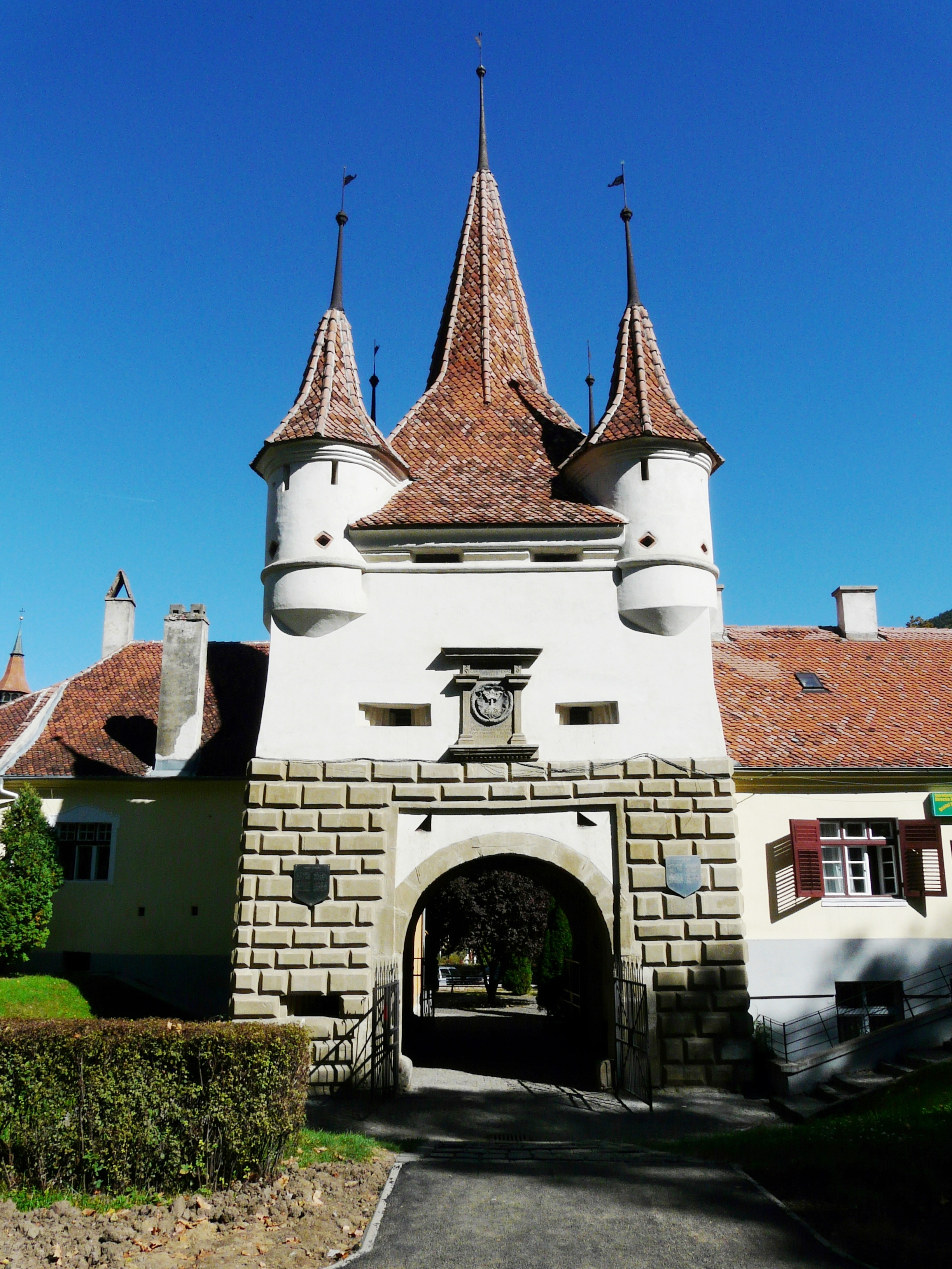 Catherine's Gate, built in 1559, is the only gate of the medieval city still standing in Brasov, Romania.