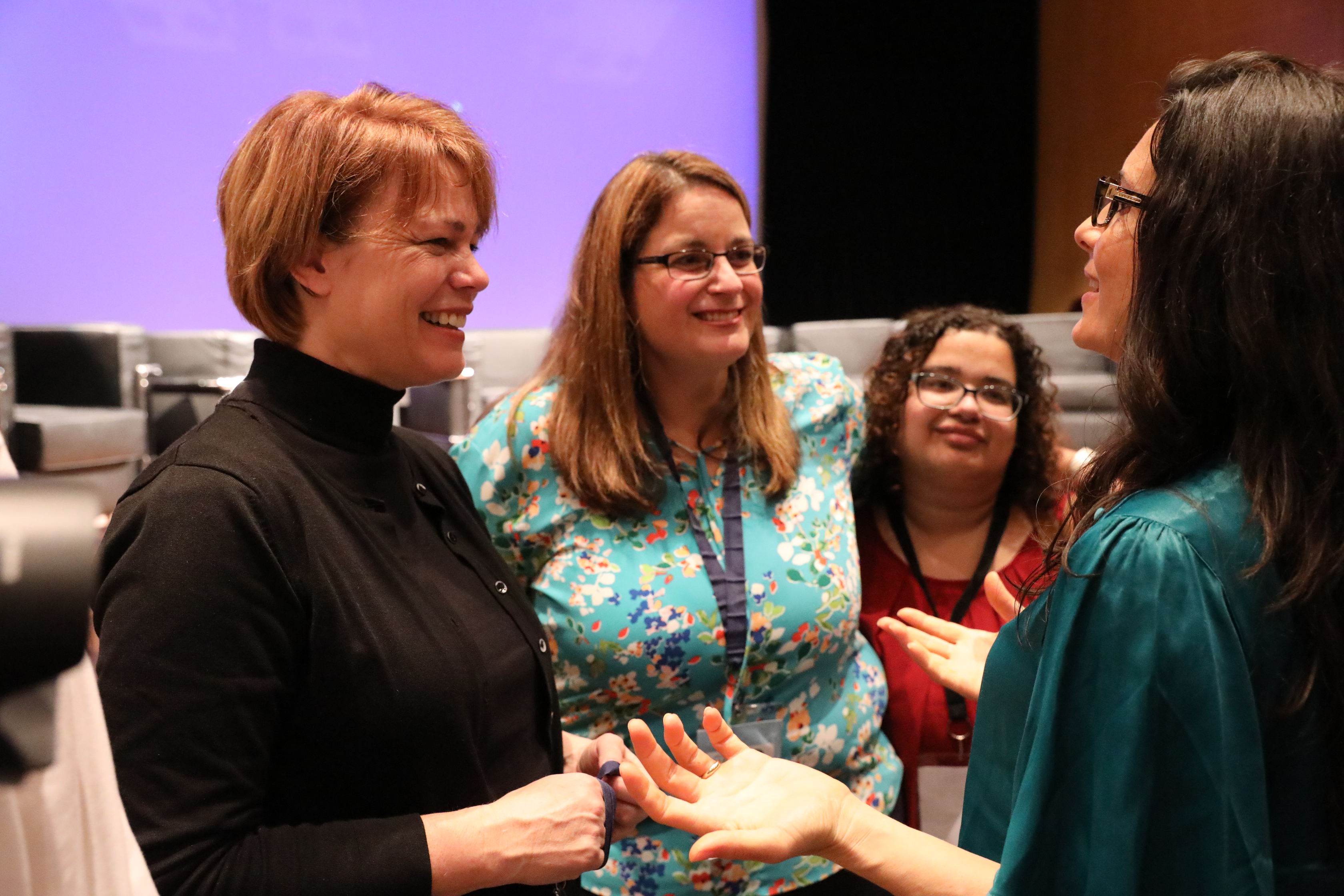 Sister Sharon Eubank, director of LDS Charities and first counselor in the Church's Relief Society general presidency, visits with other leaders at the G20 Interfaith Forum in Buenos Aires, Argentina, Thursday, Sept. 27, 2018.