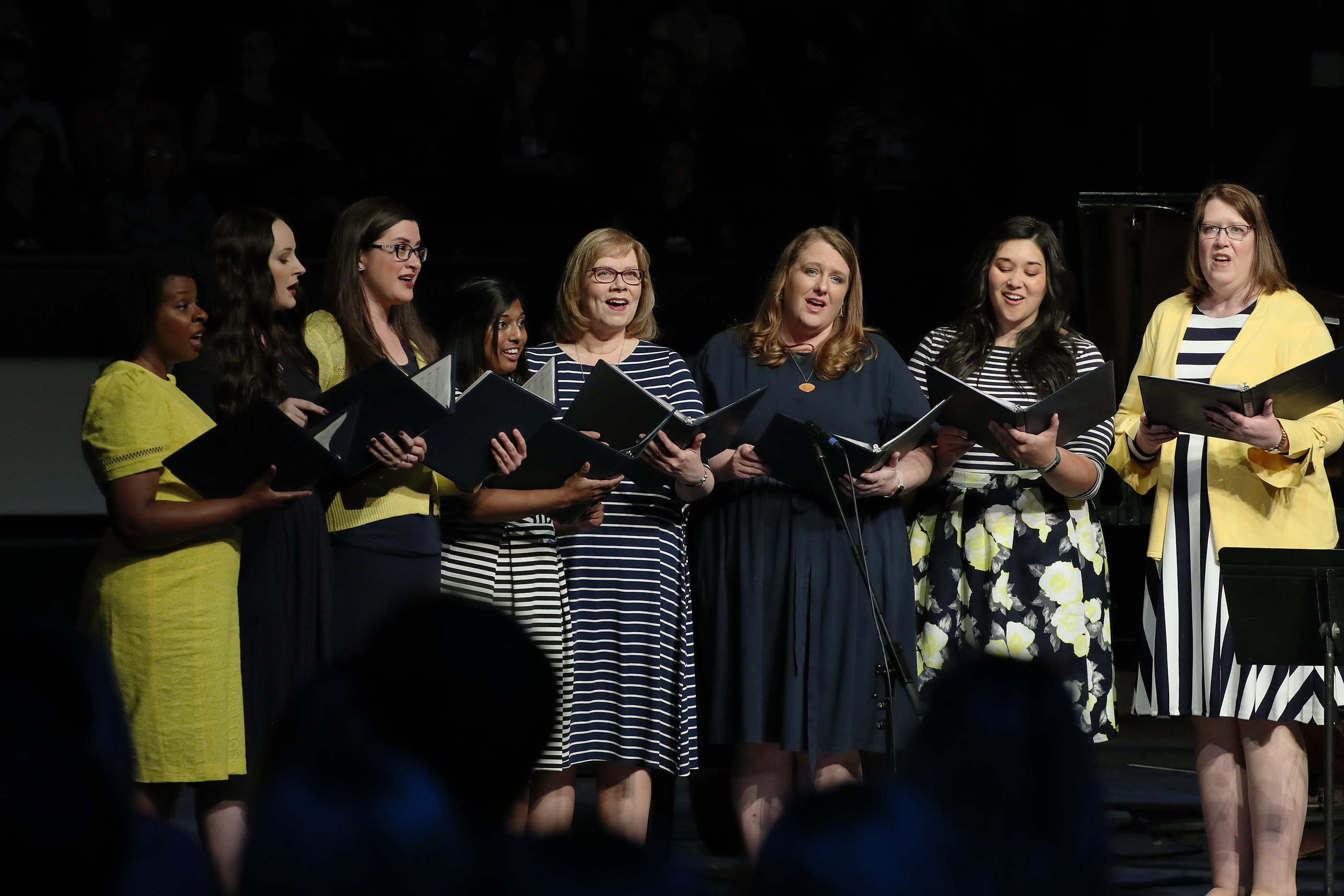 The Tabernacle Choir octet sing at a devotional during BYU Women's Conference in Provo on Friday, May 3, 2019.