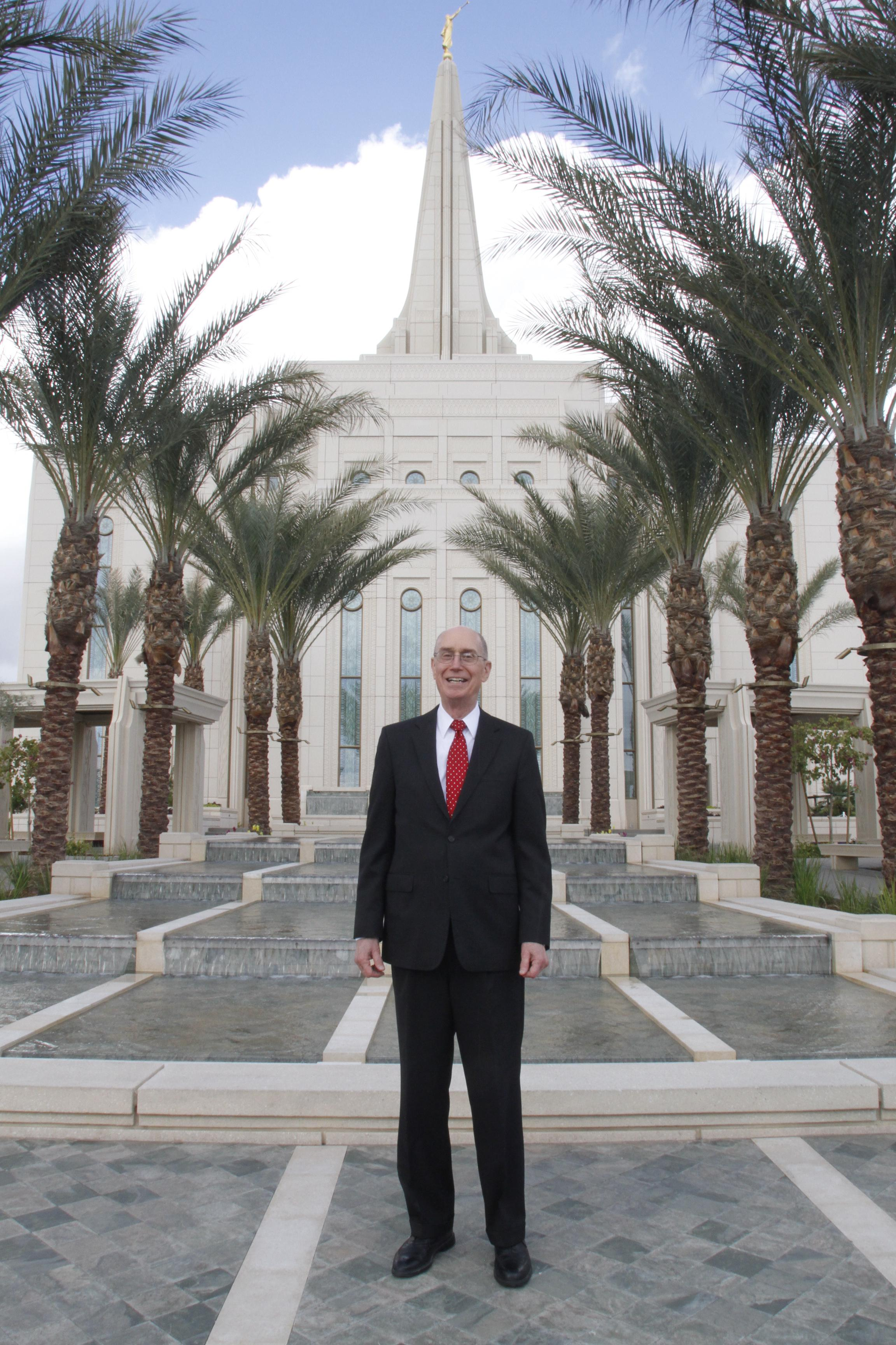 President Henry B. Eyring, first counselor in the First Presidency, stands on Gilbert Arizona Temple grounds March 1.