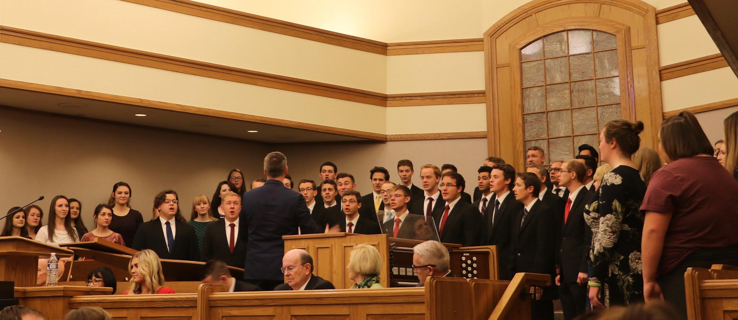 A choir of Utah Valley University students sings at the Utah Valley Institute's Feb. 1, 2019, devotional with Elder Quentin L. Cook of the Quorum of the Twelve Apostles in Orem, Utah.