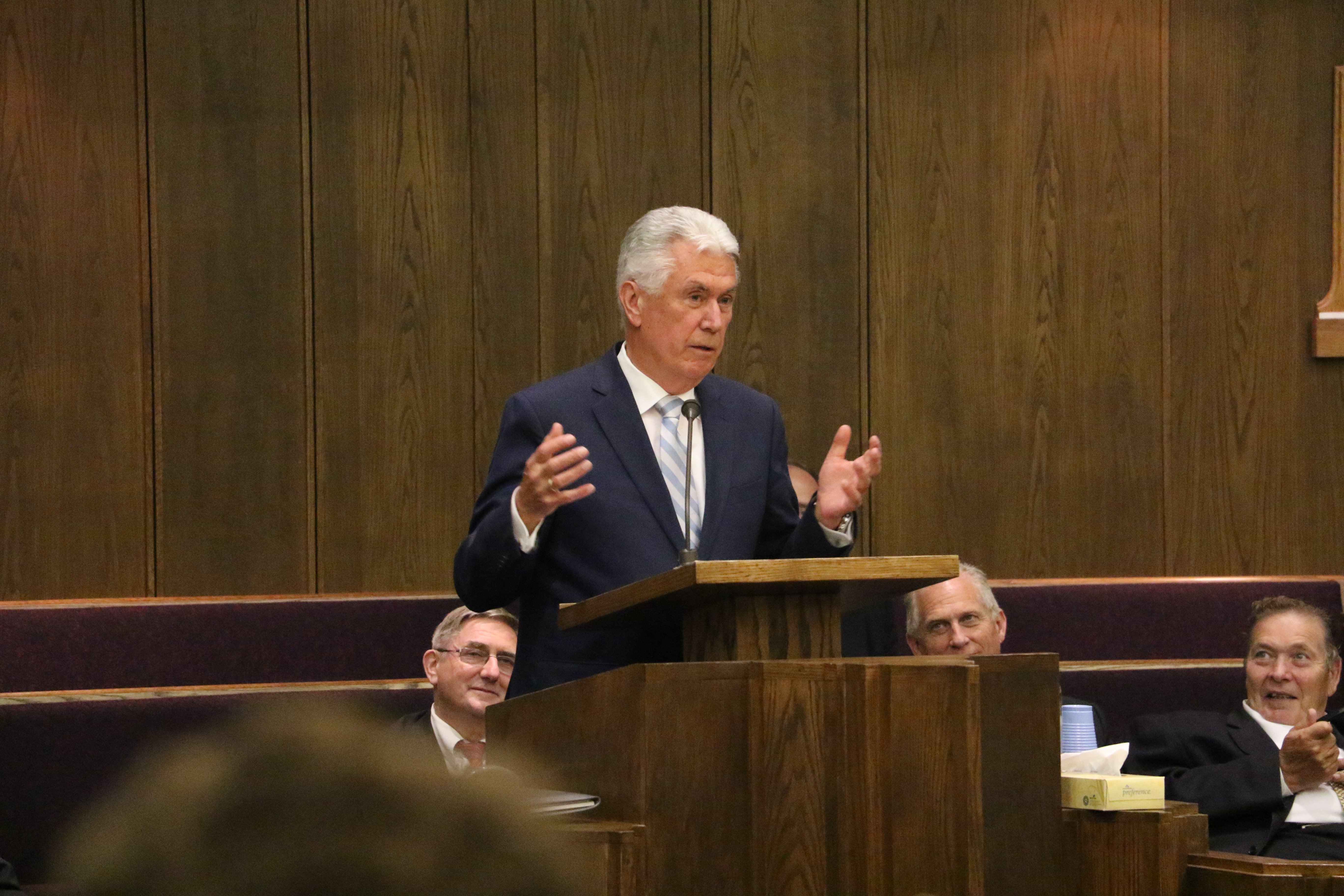 Elder Dieter F. Uchtdorf of the Quorum of the Twelve Apostles speaks during the German Speaking Ward's final sacrament meeting on July 14, 2019, in Salt Lake City.
