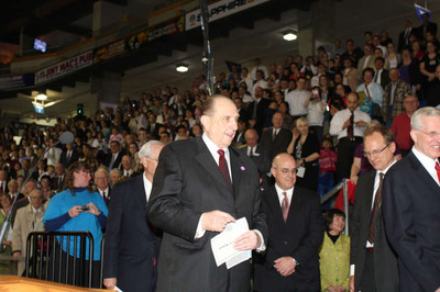 President Thomas S. Monson attends the youth celebration Saturday evening prior to Sunday's temple dedication.