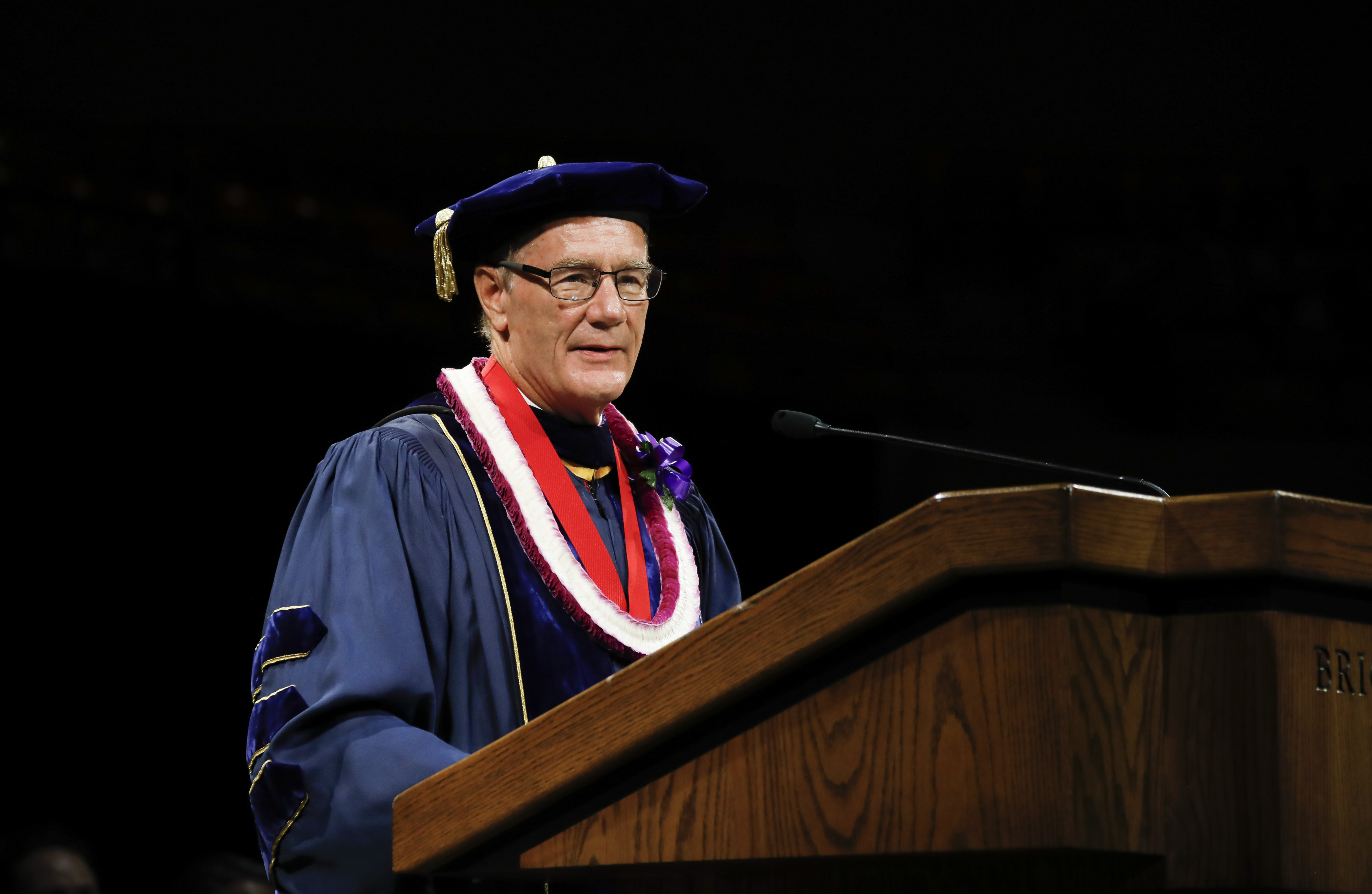 President John S. Tanner speaks to graduates during the BYU-Hawaii Winter Semester Commencement ceremony on April 20, 2019.