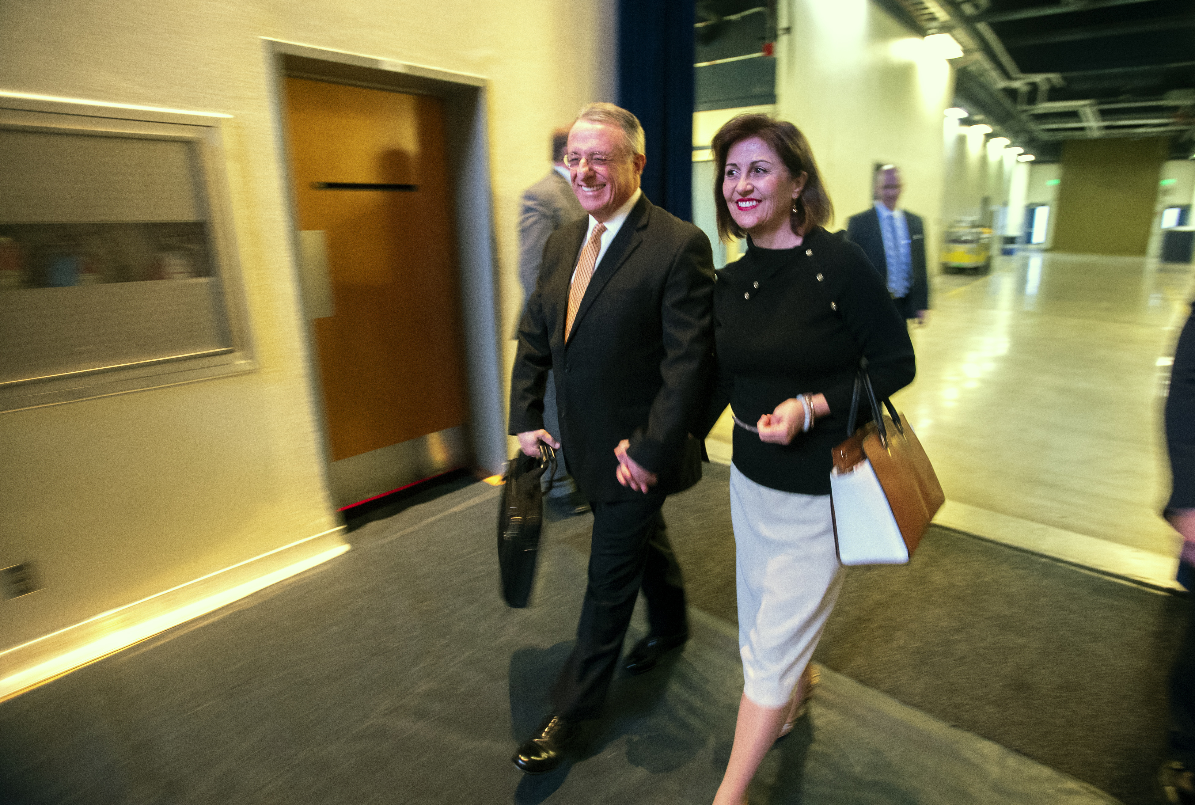Elder Ulisses Soares of the Quorum of the Twelve Apostles of The Church of Jesus Christ of Latter-day Saints and his wife Sister Rosana Soares enter the arena prior to his speaking at a devotional at BYU in Provo on Tuesday, Feb. 5, 2019.