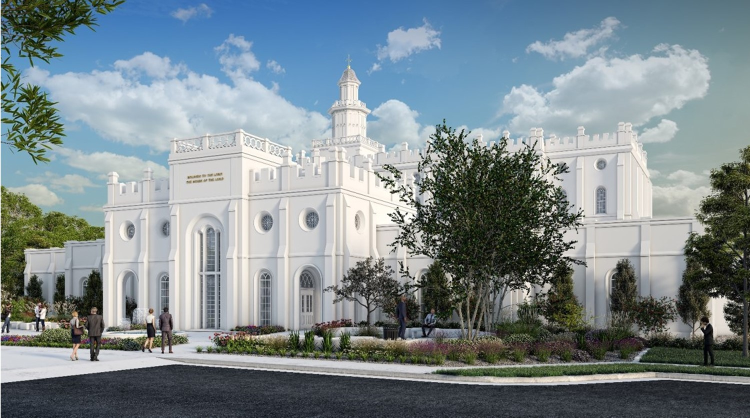Rendering of the new temple annex perspective showing the west tower of the St. George Utah Temple.