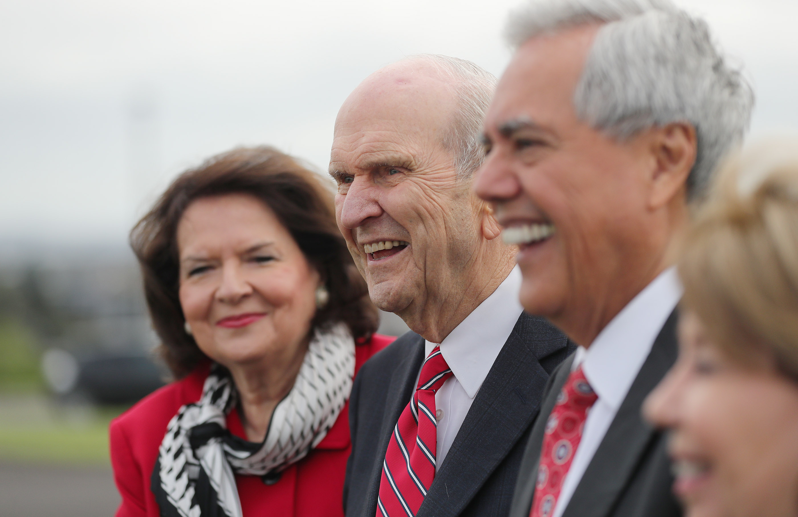 President Russell M. Nelson of The Church of Jesus Christ of Latter-day Saints shares a laugh on the grounds for the new temple in Auckland, New Zealand, on May 21, 2019.