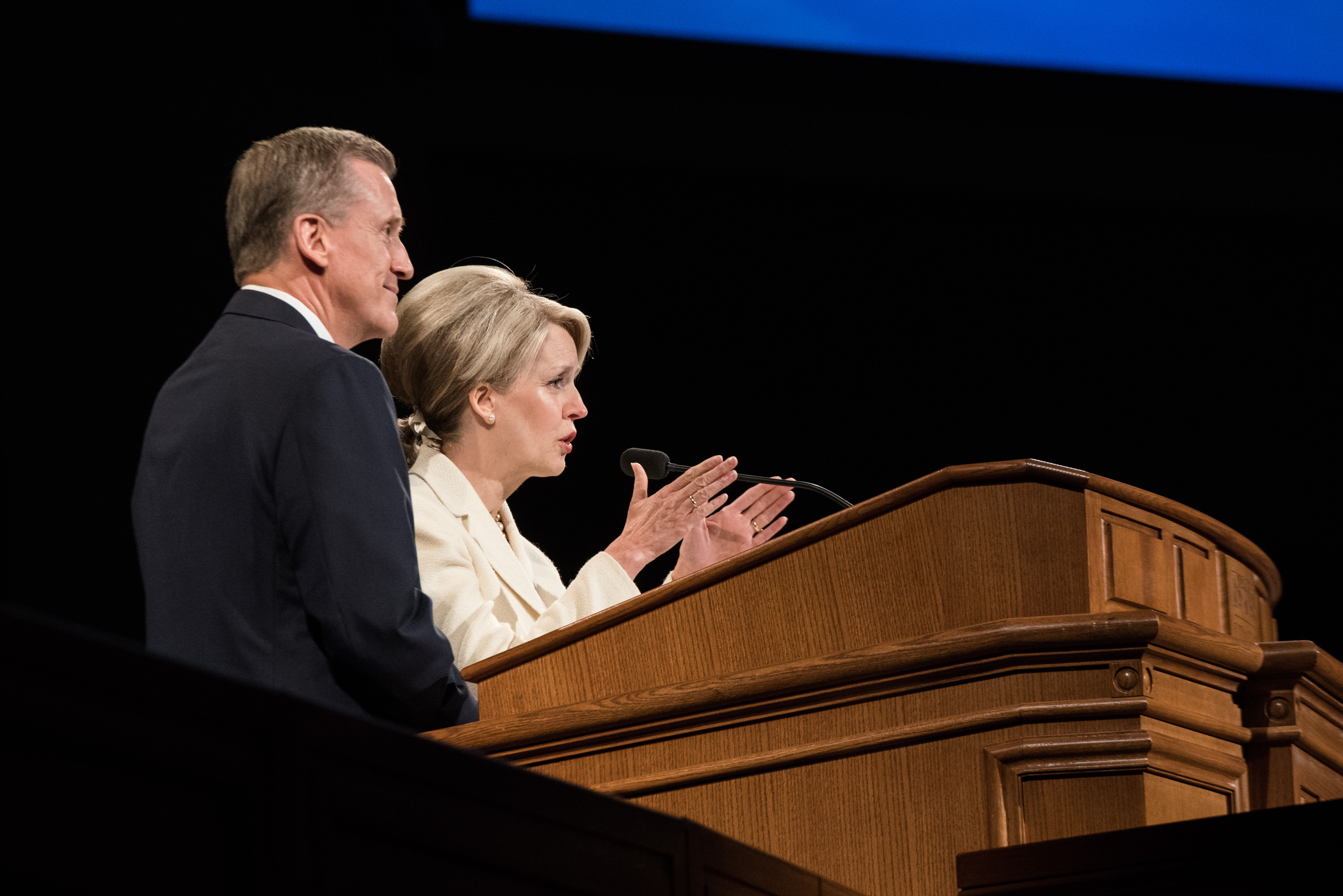 BYU-Idaho devotional guest speakers Elder R. Kevin and Sister Nancy Duncan address students on May 21, 2019.