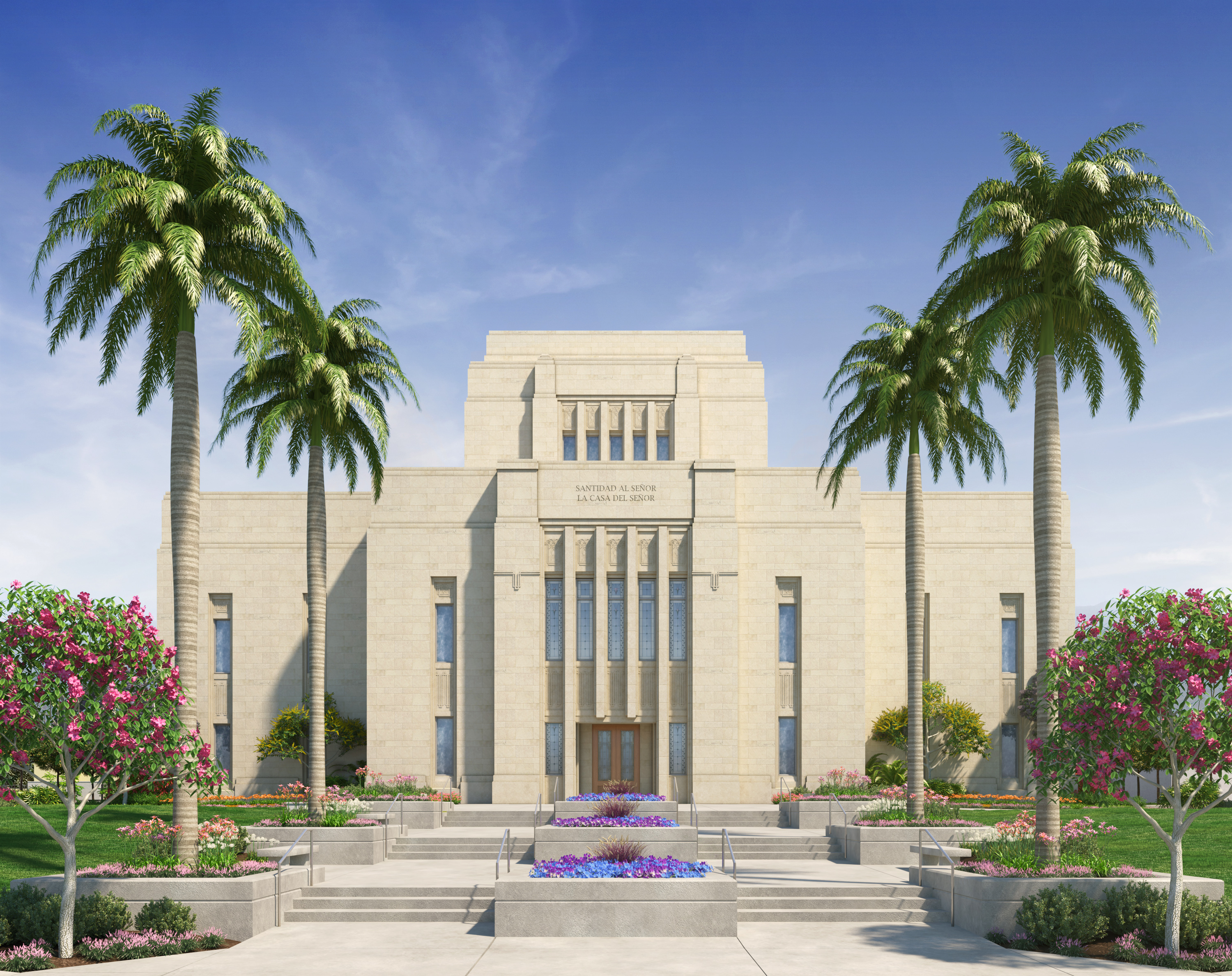 Rendering of the Lima Peru Los Olivos Temple.