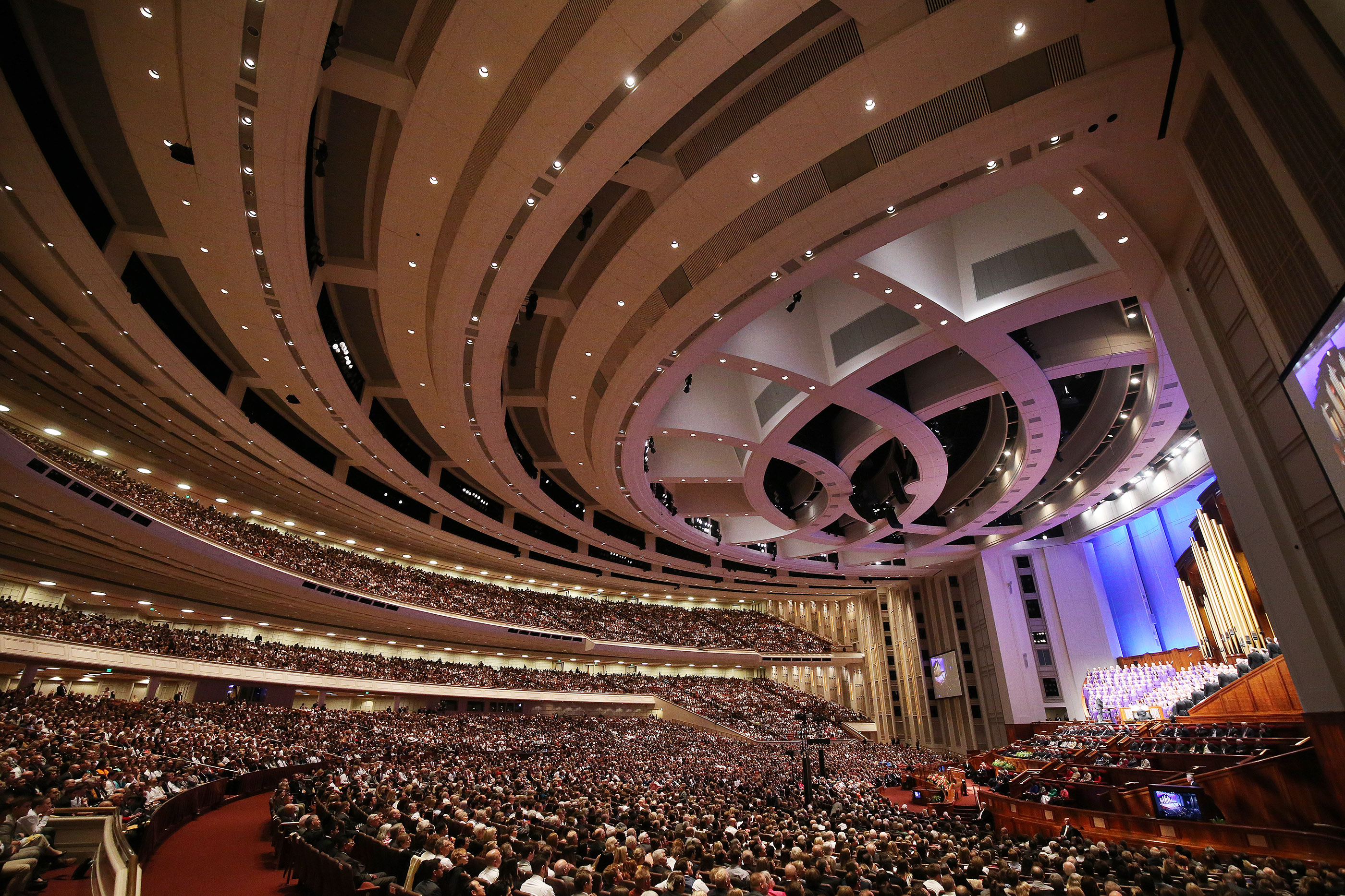 Conferencegoers attend the Saturday morning session of the 188th Semiannual General Conference of The Church of Jesus Christ of Latter-day Saints in the Conference Center in Salt Lake City on Saturday, Oct. 6, 2018.