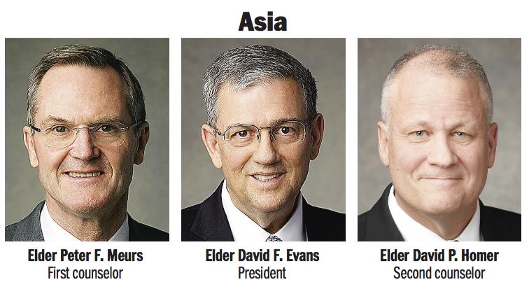 Asia Area presidency: Elder David F. Evans, Elder Peter F. Meurs and Elder David P. Homer.