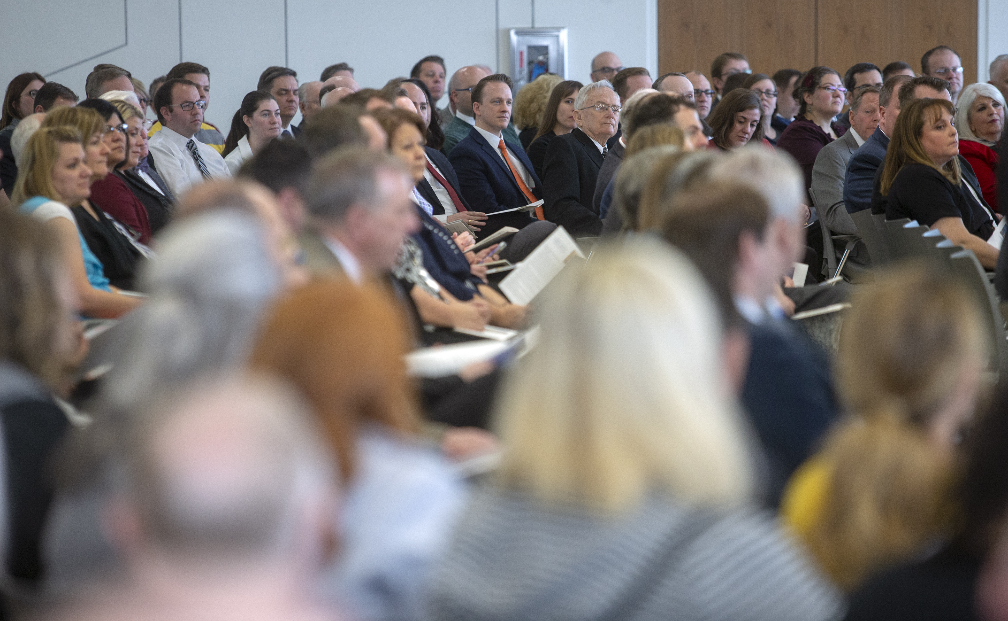 Audience members listen as Elder Ulisses Soares of the Quorum of the Twelve Apostles gives a short speech before giving the rededication prayer for the Caroline Hemenway Harman Building at BYU in Provo, Utah, on Tuesday, Feb. 5, 2019.