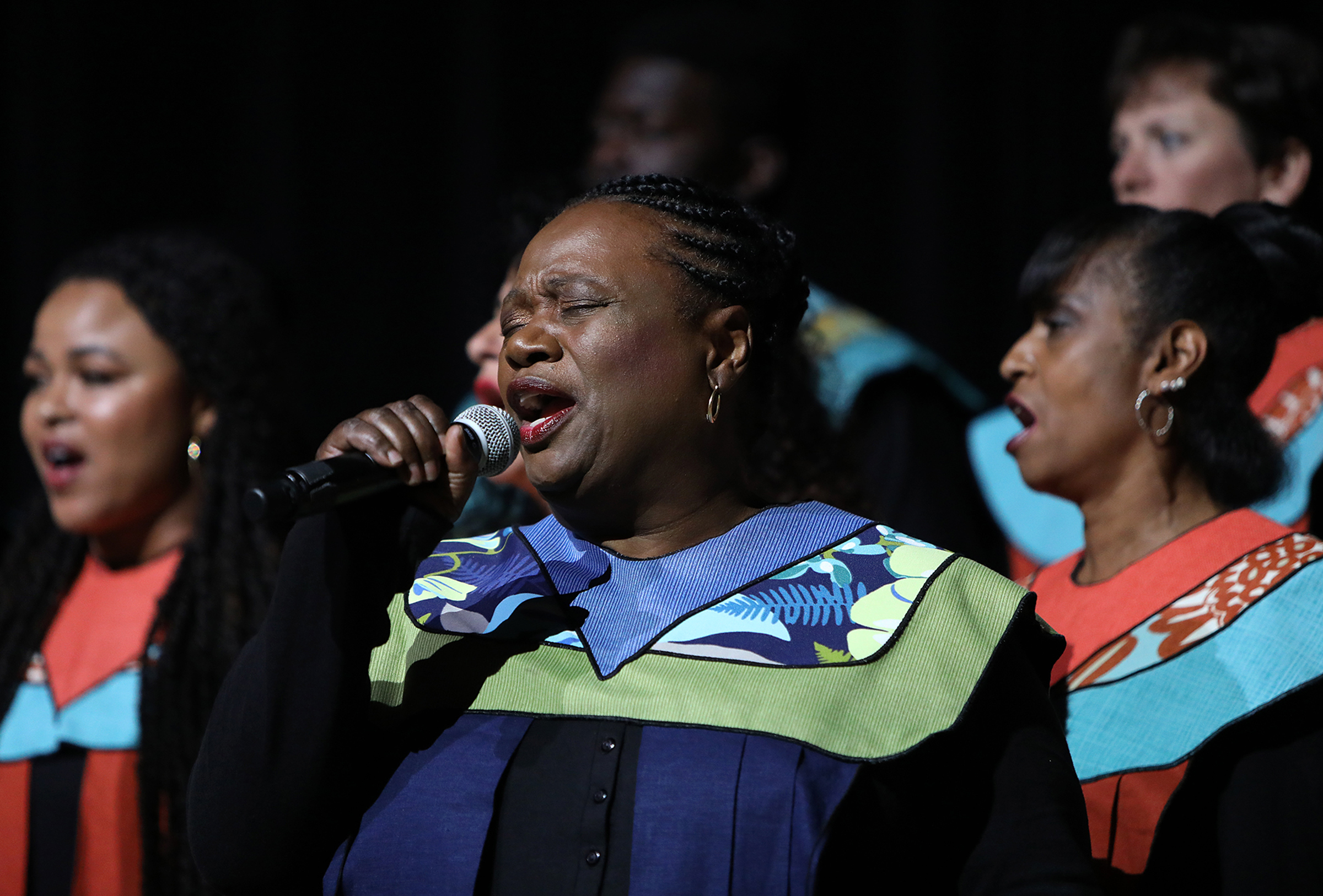 "Debra Bonner, center, performs ""Calvary"" with The Debra Bonner Unity Gospel Choir, an independent LDS choir, during the 109th NAACP Annual Convention at the Henry B. González Convention Center in San Antonio on Sunday, July 15, 2018."
