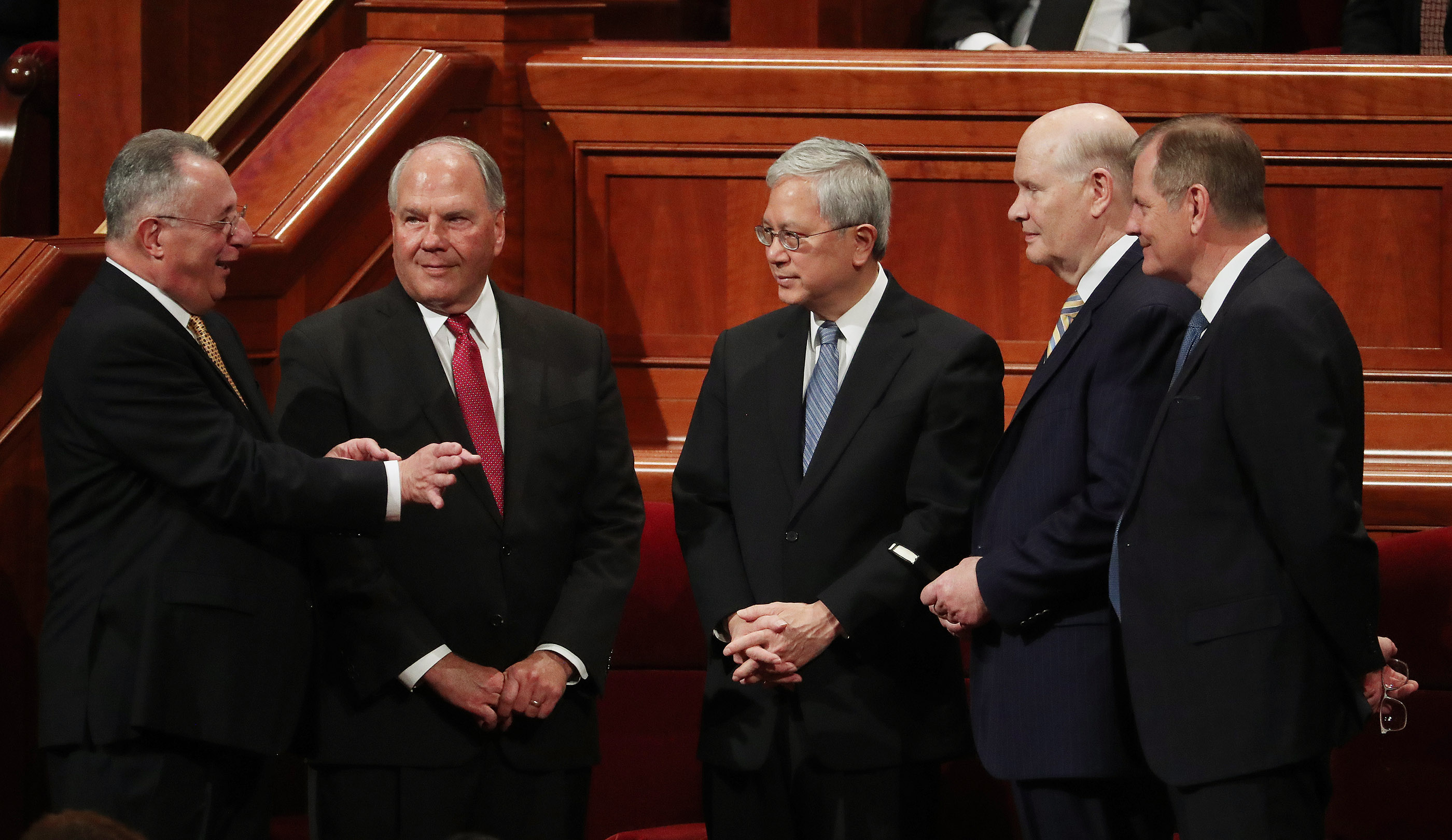 Elder Ulisses Soares, Elder Ronald A. Rasband, Elder Gerrit W. Gong, Elder Dale G. Renlund and Elder Gary E. Stevenson of The Church of Jesus Christ of Latter-day Saints' Quorum of the Twelve Apostles speak prior to the 189th Annual General Conference of The Church of Jesus Christ of Latter-day Saints in Salt Lake City on Saturday, April 6, 2019.