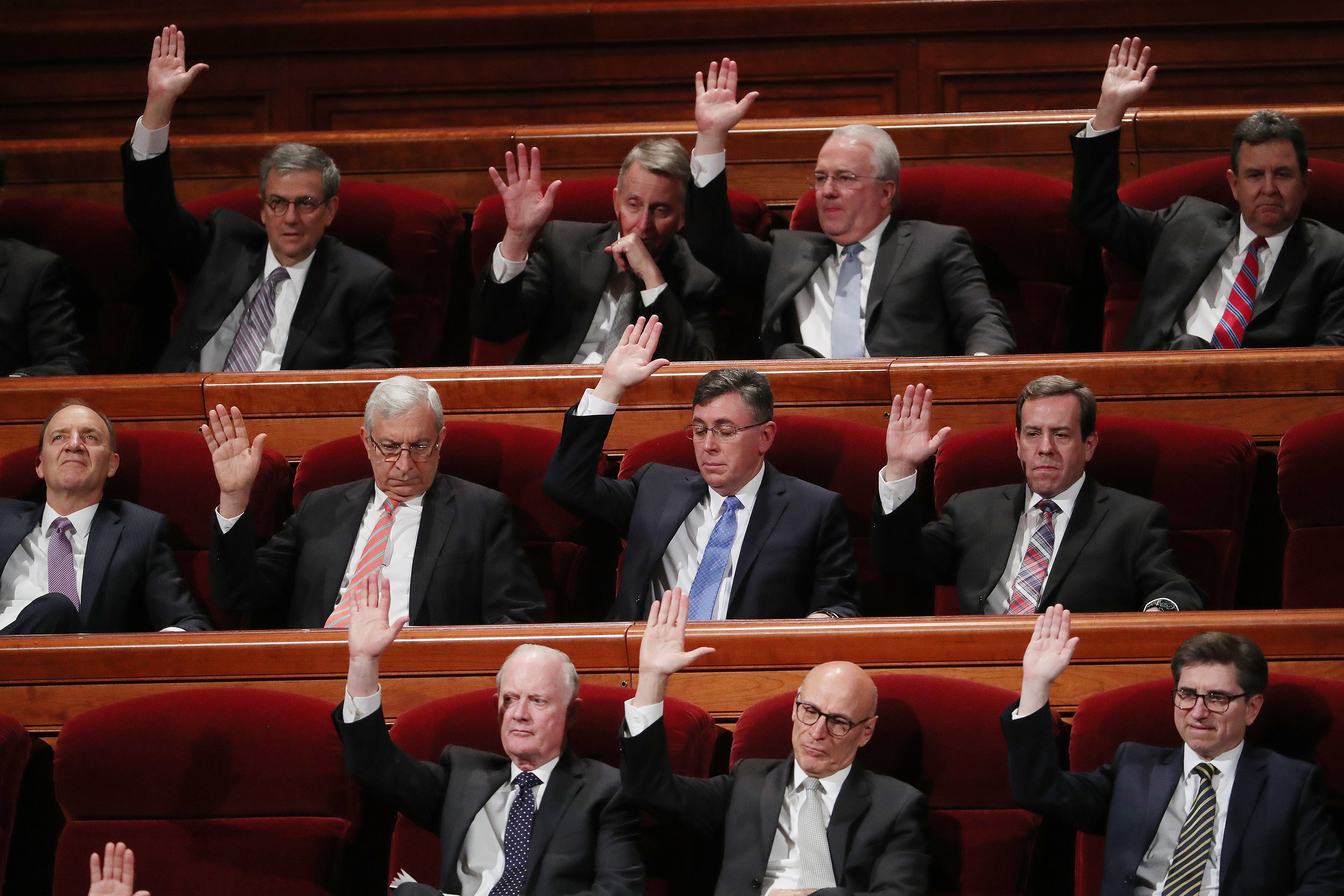 General Authorities sustain leaders the Saturday afternoon session of the 189th Annual General Conference of The Church of Jesus Christ of Latter-day Saints in the Conference Center in Salt Lake City on Saturday, April 6, 2019.