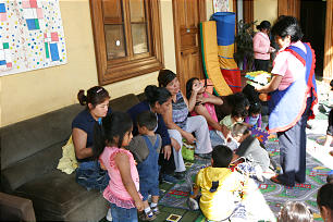 Families enjoy recreational activities at the Camilos Catholic monastery. The Church has supplied the monastery with medicine and other provisions.