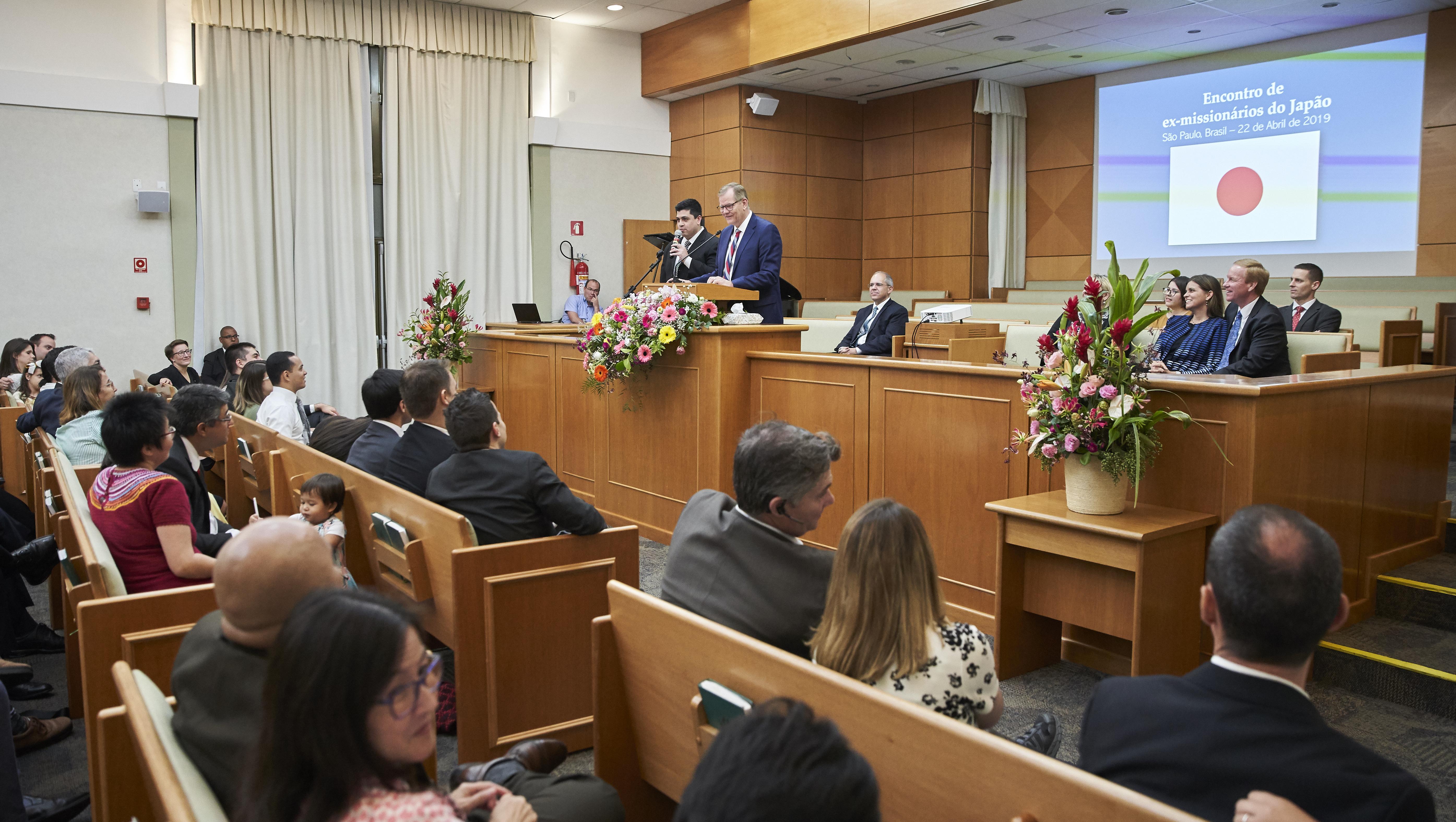 Elder Gary E. Stevenson during his April 2019 to Brazil.