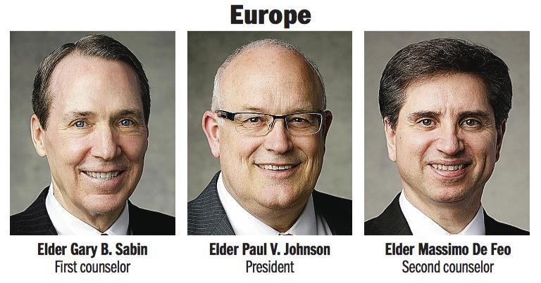 Europe Area presidency: Elder Paul V. Johnson, Elder Gary B. Sabin and Elder Massimo De Feo.