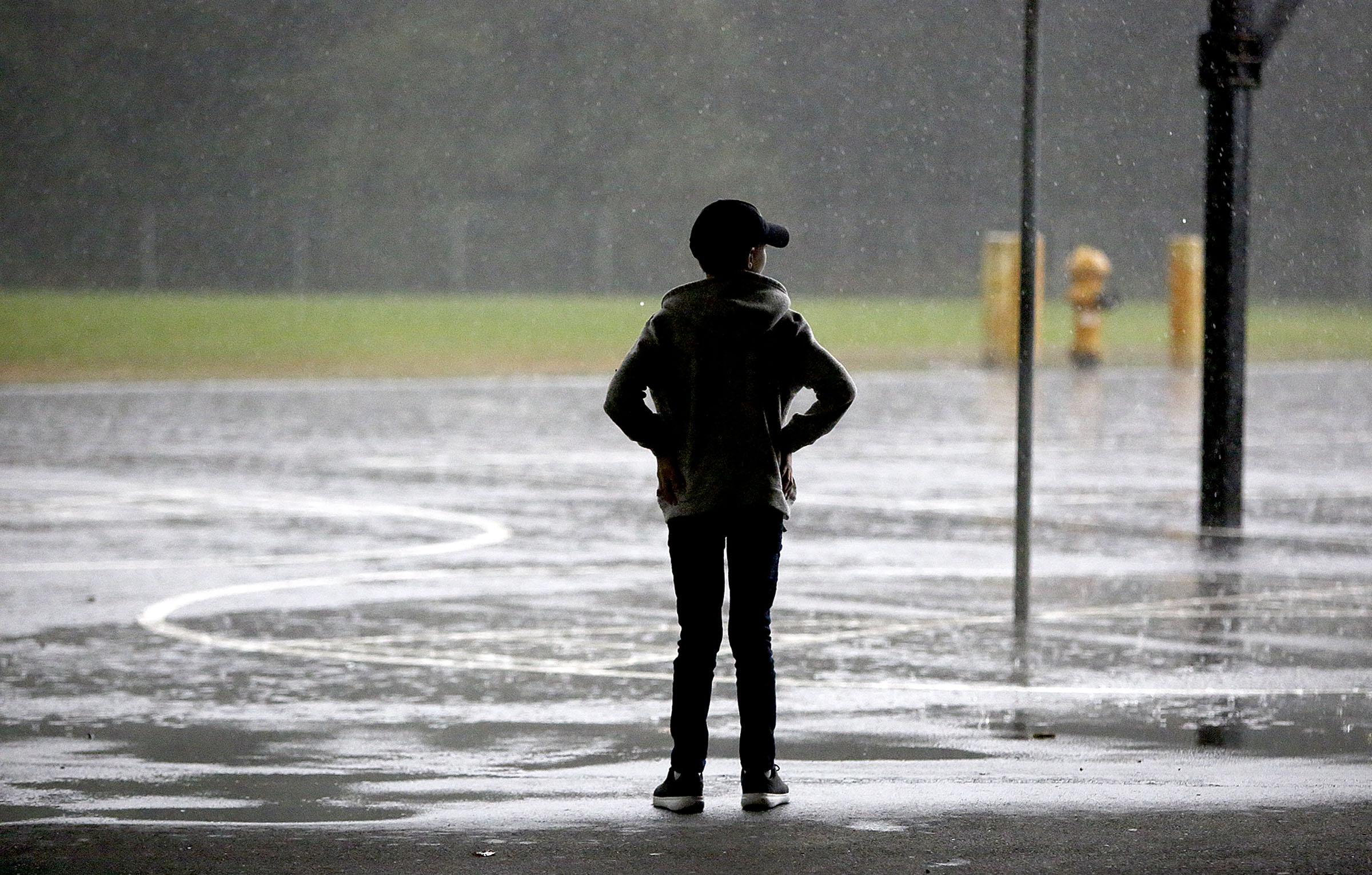 Tom Allen watches a heavy rainfall near his home in Renton, Wash., on Friday, Sept. 14, 2018.