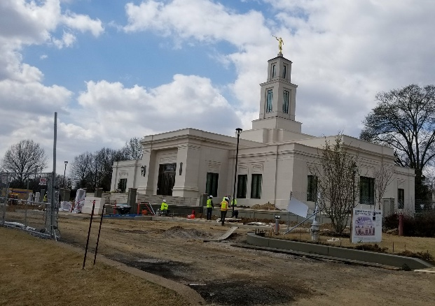 The construction site of the Memphis Tennessee Temple in an unfinished state during the last weeks of March 2019.