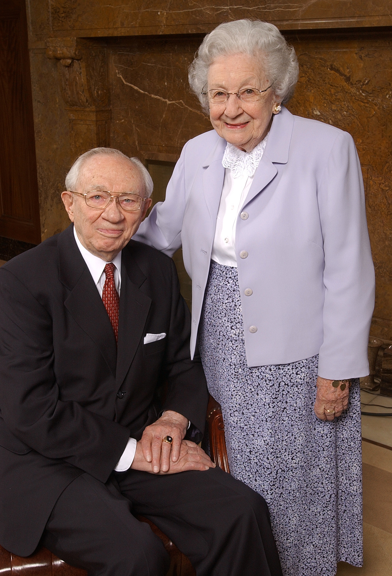 President Gordon B. and Marjorie Hinckley pose for photo prior to media interview Mar 13th, 2003.