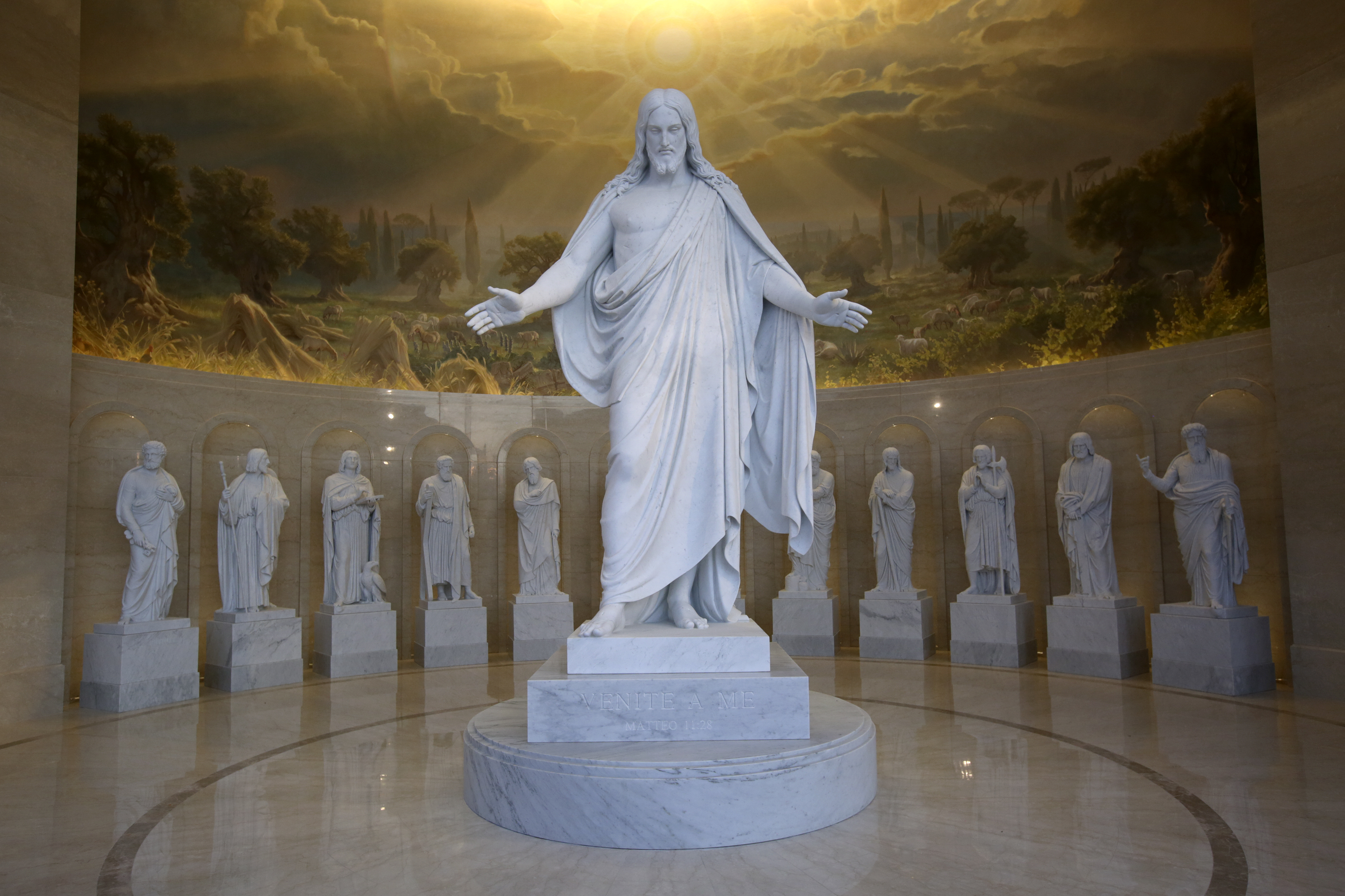 Replicas of Danish sculptor Bertel Thorvaldsen's Christus and 12 apostle statues are on display in the Rome Temple Visitors' Center in Rome, Italy, on Friday, Nov. 16, 2018.