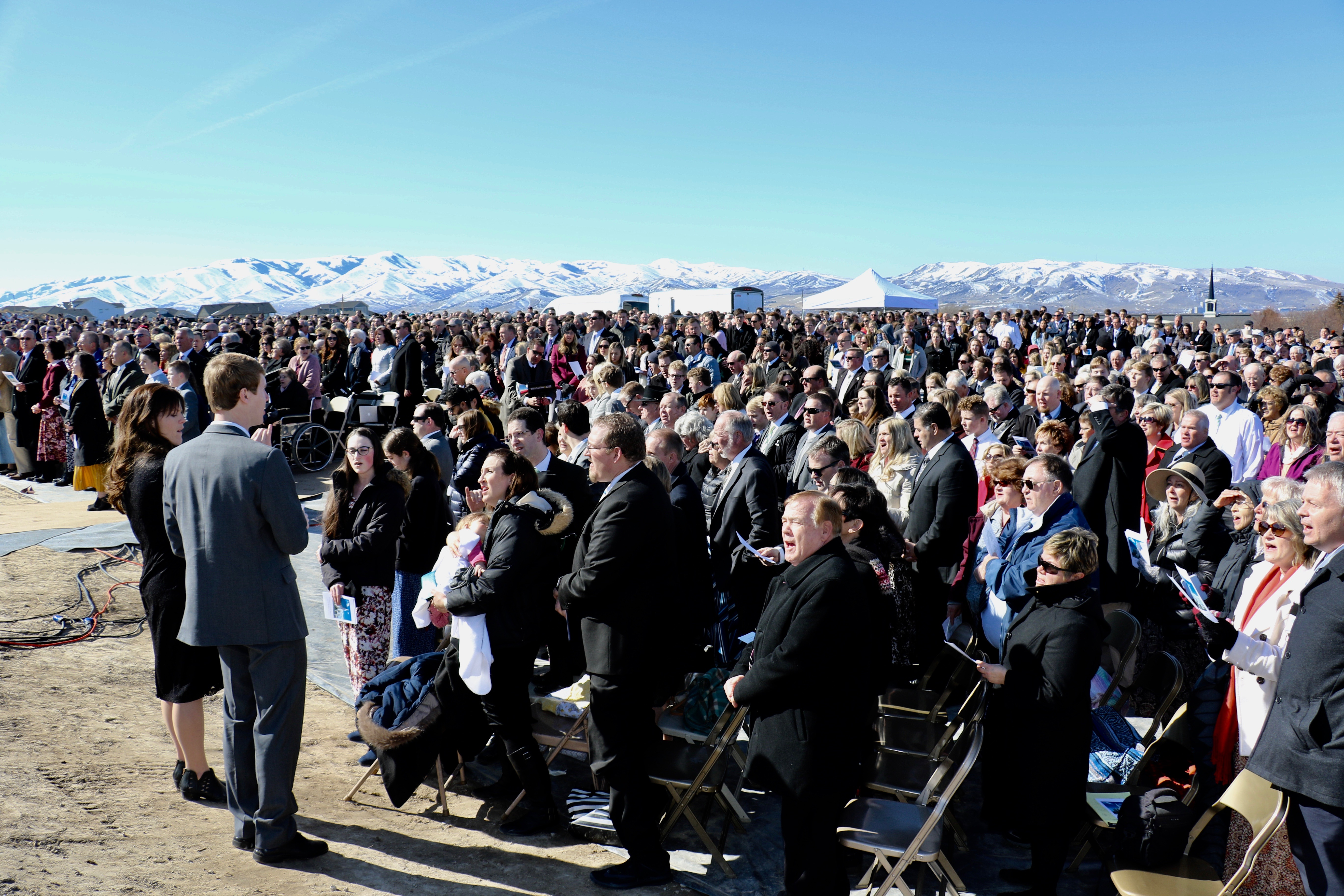 Thousands gathered under brisk, clear skies on March 16, 2019, for the groundbreaking service of the Pocatello Idaho Temple.