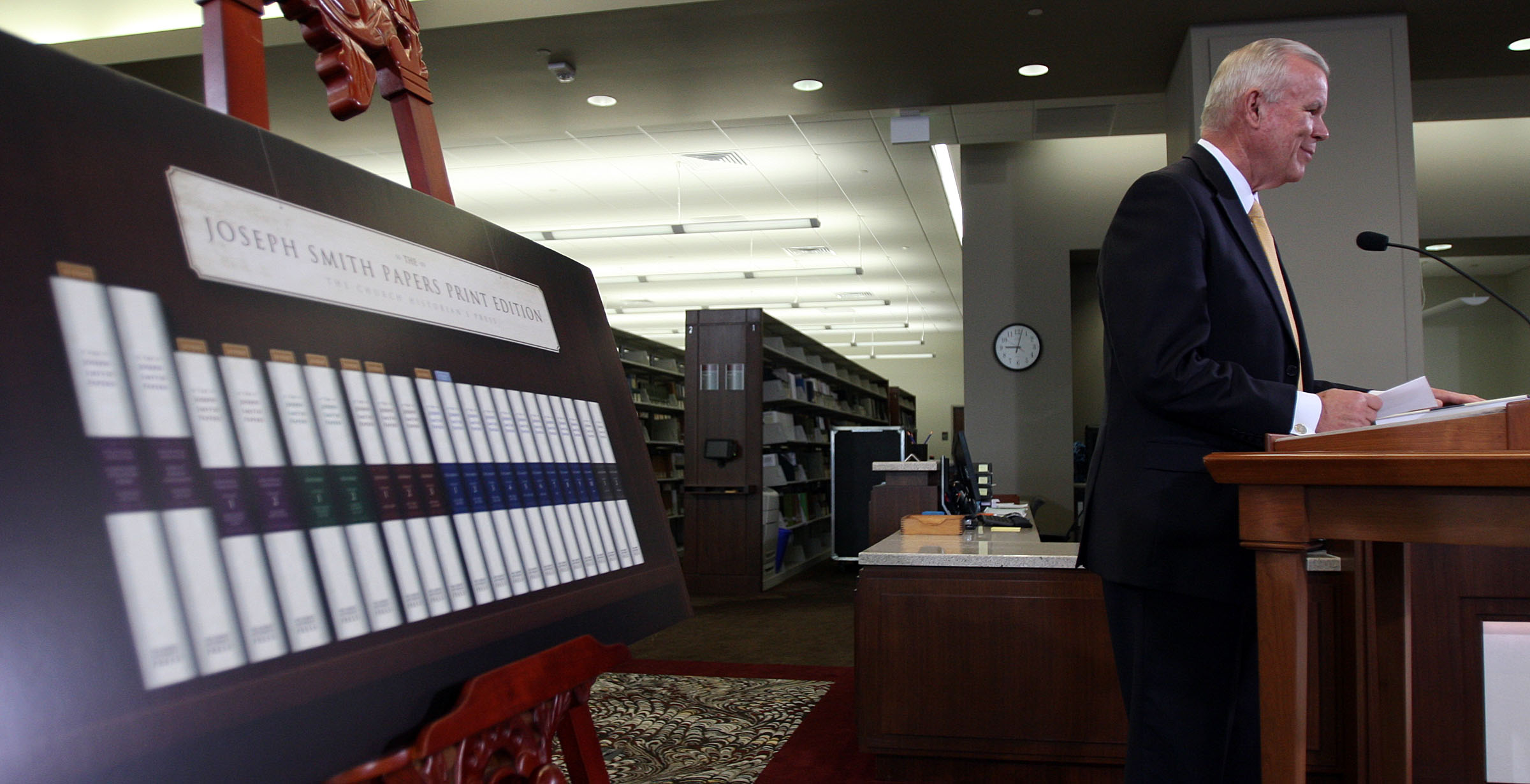 Elder Steven E. Snow, church historian and recorder, and executive director of the Church History Department, speaks during the announcement of the release of the latest volume in the church's ongoing Joseph Smith Papers project in Salt Lake City, Wednesday, Sept. 4, 2013.