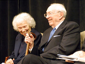 Gordon B. Hinckley and his sister, Ramona Hinckley Sullivan during ceremony of Bryant and Ada Hinckley endowment at LDS Business College.