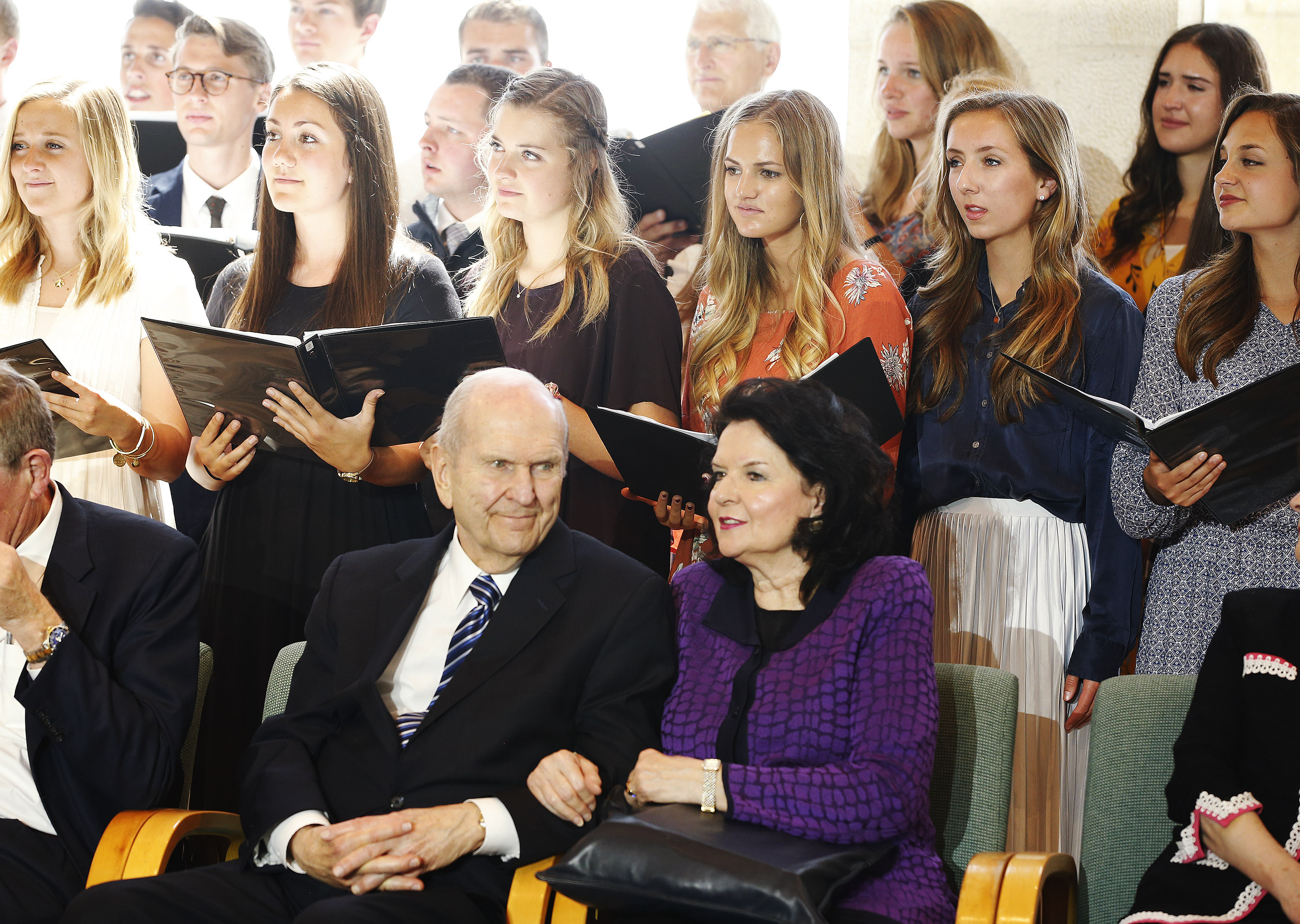 President Russell M. Nelson, president of The Church of Jesus Christ of Latter-day Saints, and his wife, Sister Wendy Watson Nelson, listen to the branch choir sing during Jerusalem District Conference at the BYU Jerusalem Center in Jerusalem on Saturday, April 14, 2018.