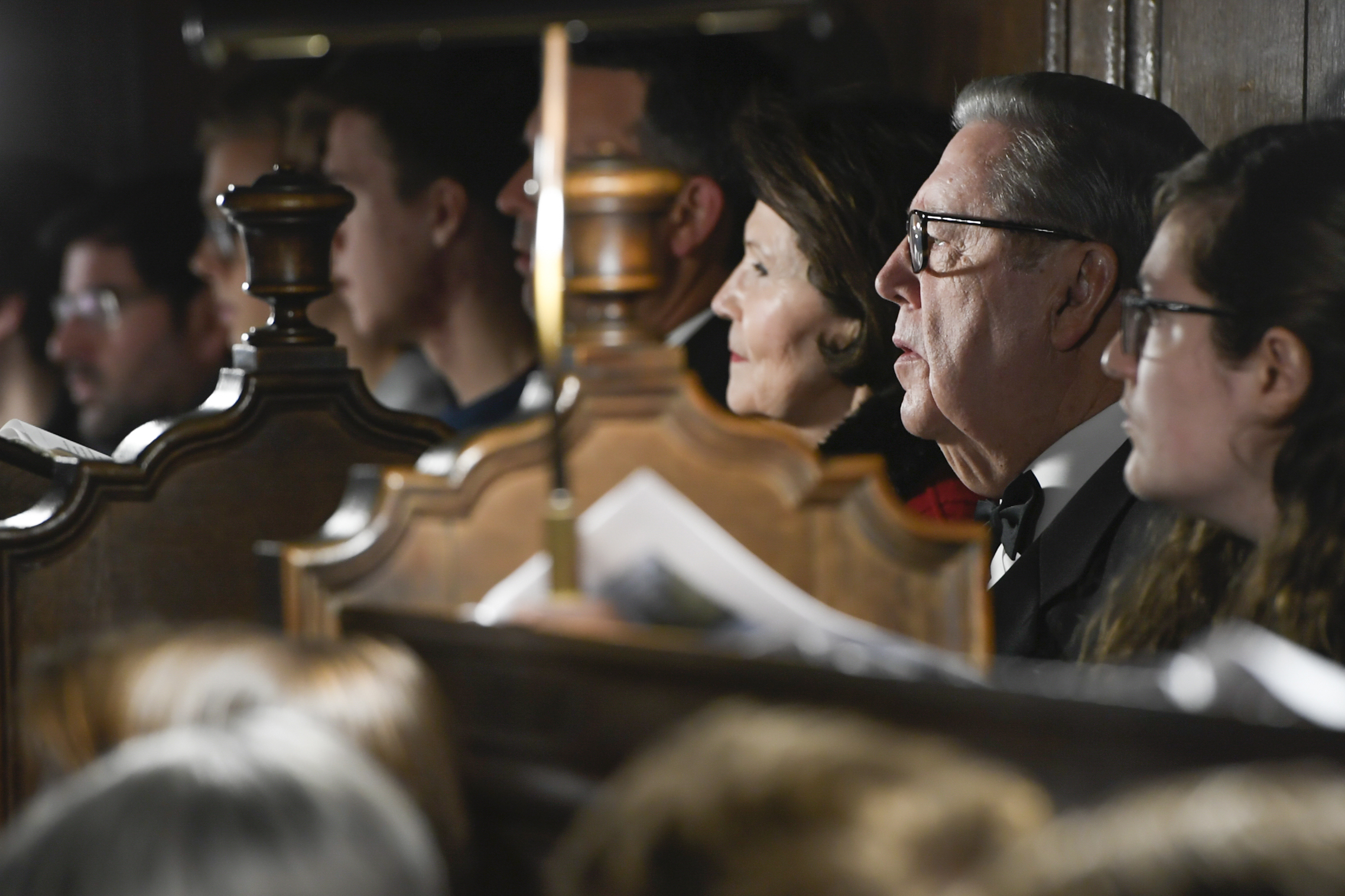 "Elder Jeffrey R. Holland of the Quorum of the Twelve Apostles and his wife, Sister Patricia Holland, listen during the traditional Church of England ""Nine Lessons and Carols"" service in the Pembroke College Chapel in Oxford, England, on Sunday, Nov. 25, 2018."