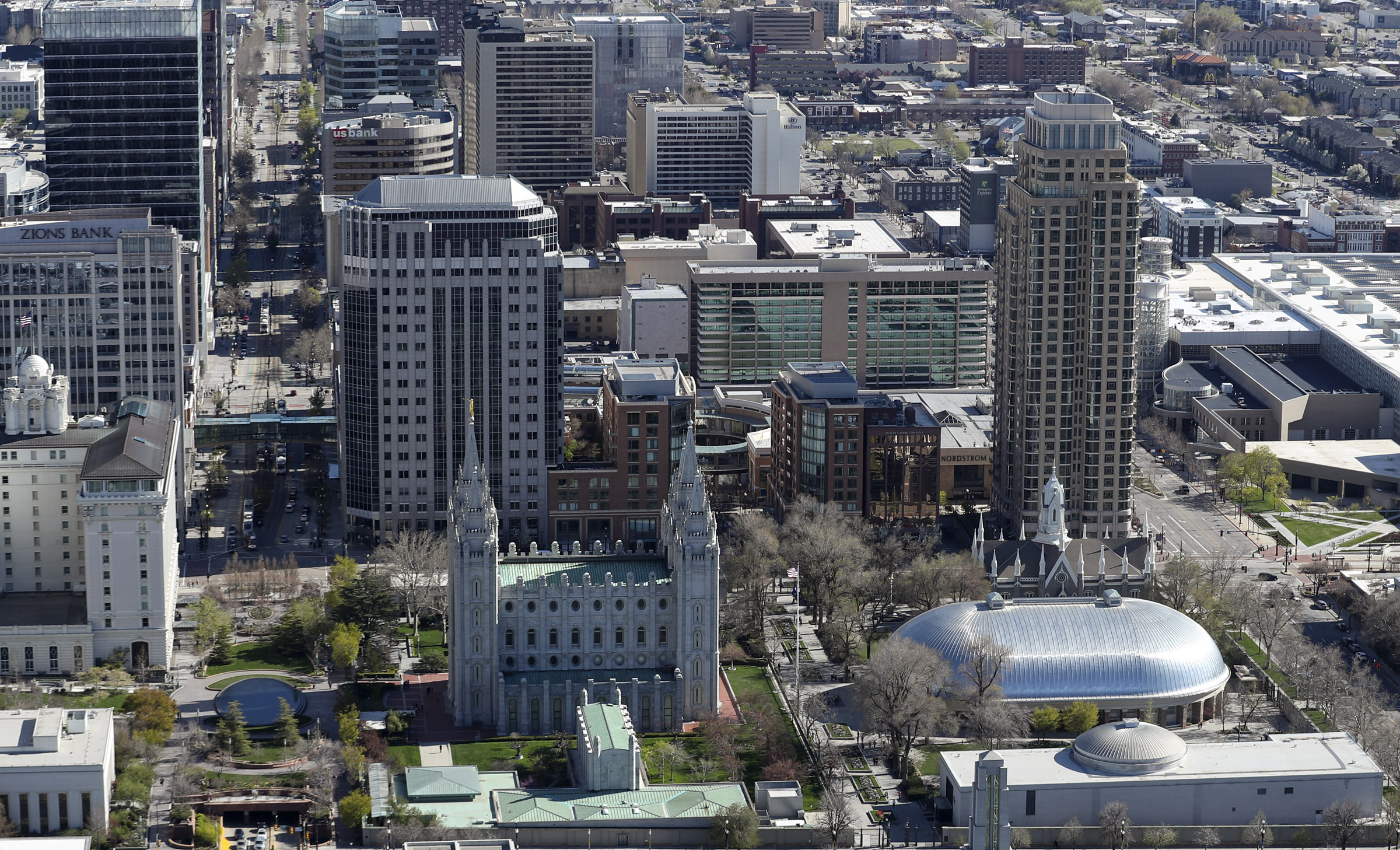 Temple Square and downtown Salt Lake City on Thursday, April 18, 2019.
