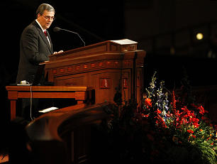 Elder David F. Evans, of the Seventy speaks to a group of nearly 5,000 young single adults at a meeting Tuesday, April 26, 2011 in the Conference Center.