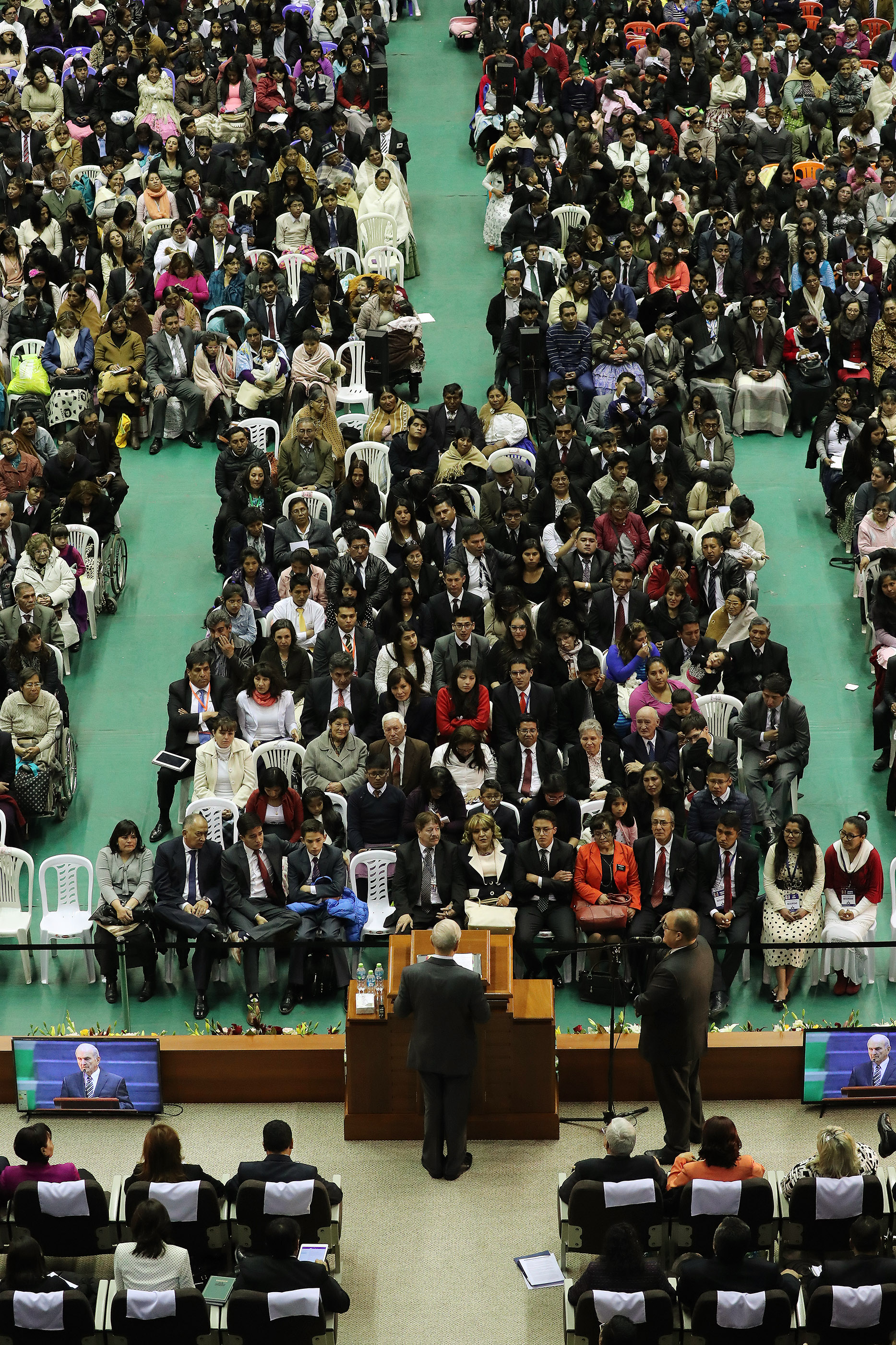 President Russell M. Nelson of The Church of Jesus Christ of Latter-day Saints speaks in La Paz, Bolivia on Oct. 21, 2018.