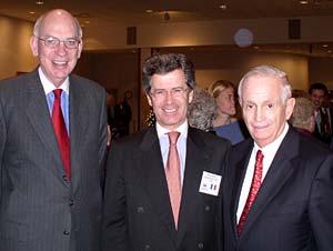 French Ambassador to the U.S. Jean-David Levitte, center, meets with Utah Sen. Bob Bennett, left, and Elder J.W. Marriott Jr. of the Seventy after lighting ceremony.