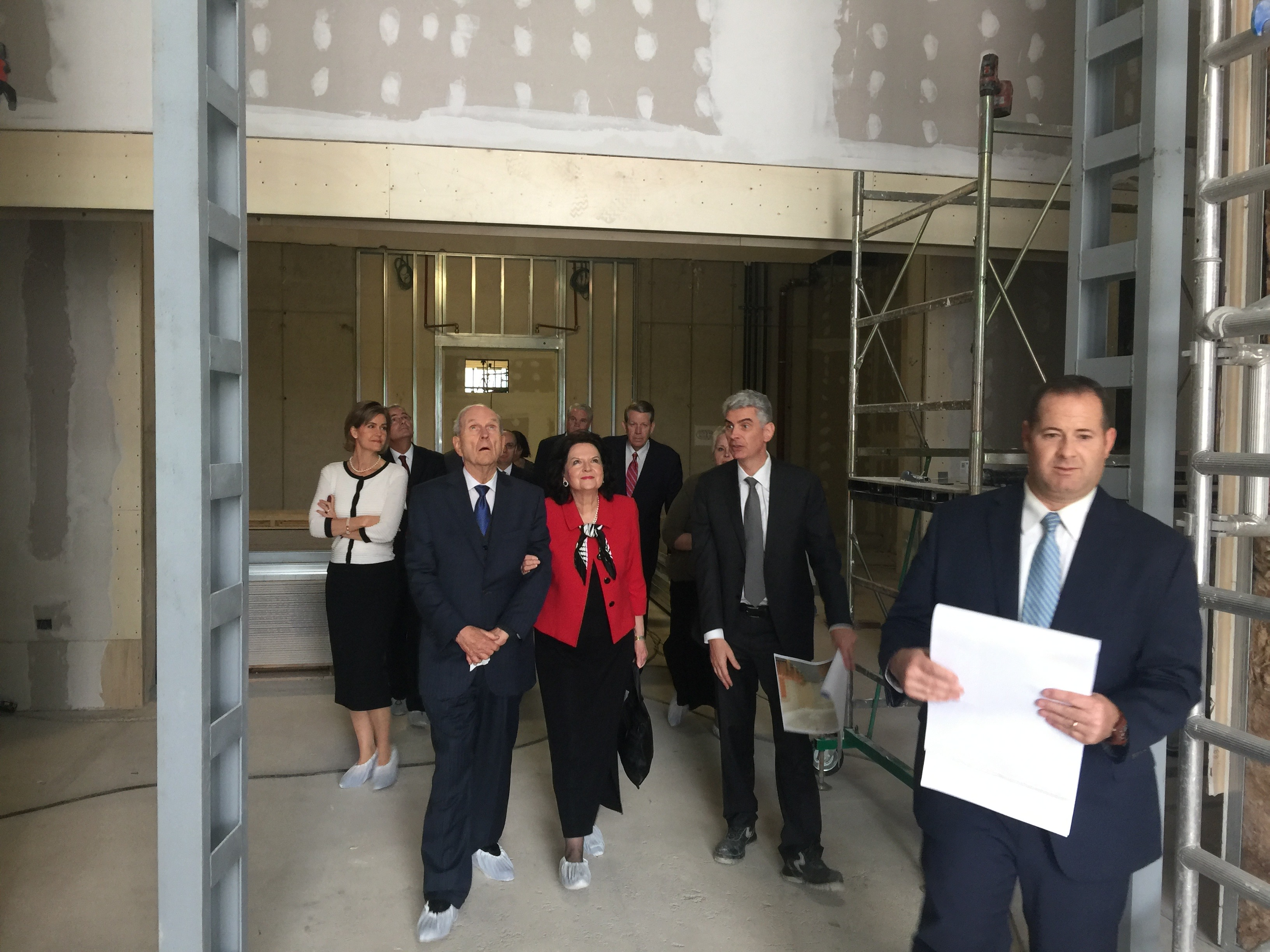 President Russell M. Nelson and Sister Wendy Nelson tour through the Rome Italy Temple during an early construction phase.