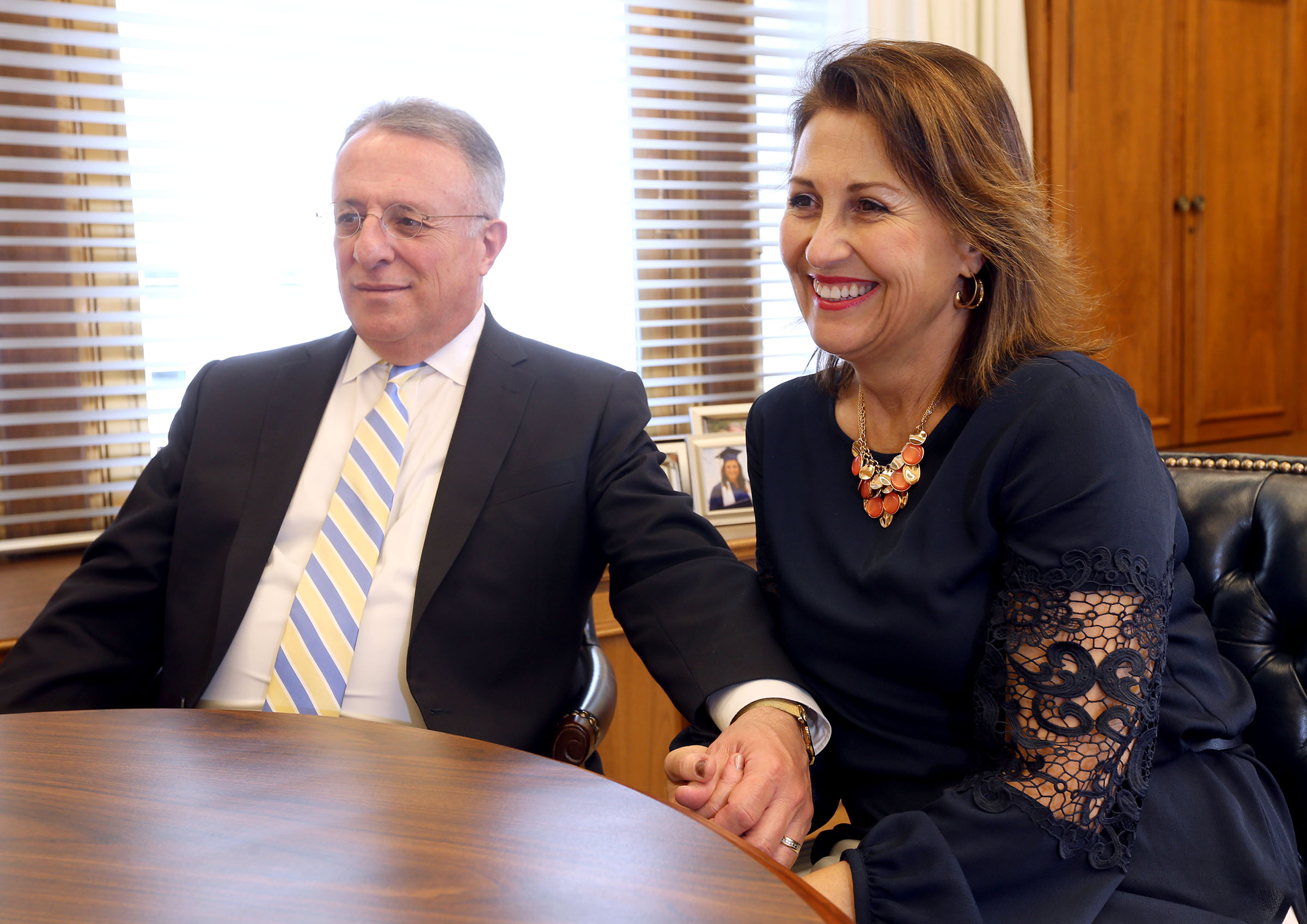 Elder Ulisses Soares and Sister Rosana Soares answer questions in Elder Soares' office in Salt Lake City on Wednesday, April 4, 2018.