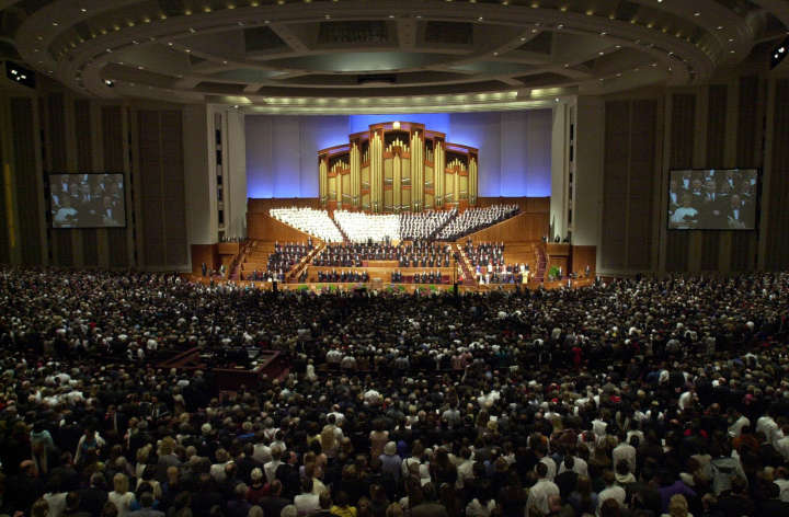 Sunday April 2, 2000 LDS General Conference morning session in new conference building. Conference Center 10th anniversary. Friday, March26, 2010, Photo by Rudy Zamora/Deseret News