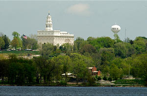 The Nauvoo Temple on Monday afternoon from across the Mississippi river in Montrose April 29, 2002 Photo by Scott G. Winterton/Deseret News. (Submission date: 04/30/2002)