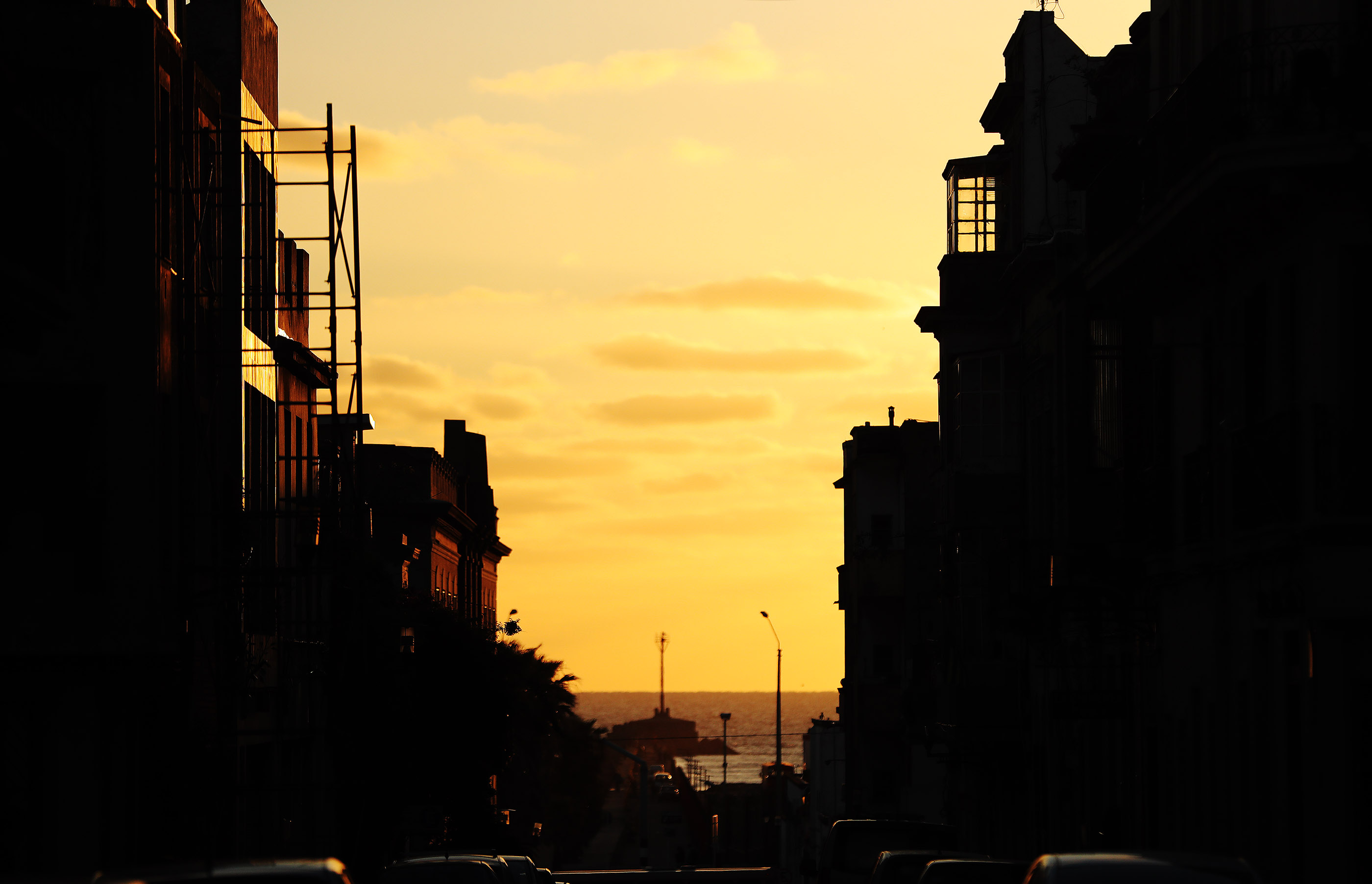 The sun sets in Old Town in Montevideo, Uruguay, on Thursday, Oct. 25, 2018.