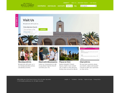 """Image of the """"Visit Us"""" page of the new Mormon.org web site. Members of the Church are encouraged to create personal profiles on the site which can be read by those who are investigating the Church."""