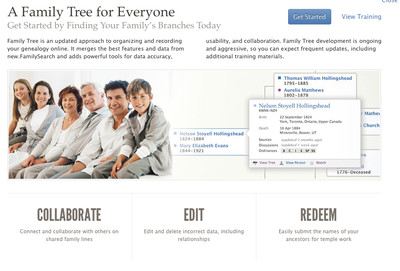 Family Tree is a new web application from the Church that helps members and nonmembers build a family tree by collaborating together. Information may also be submitted for temple work.