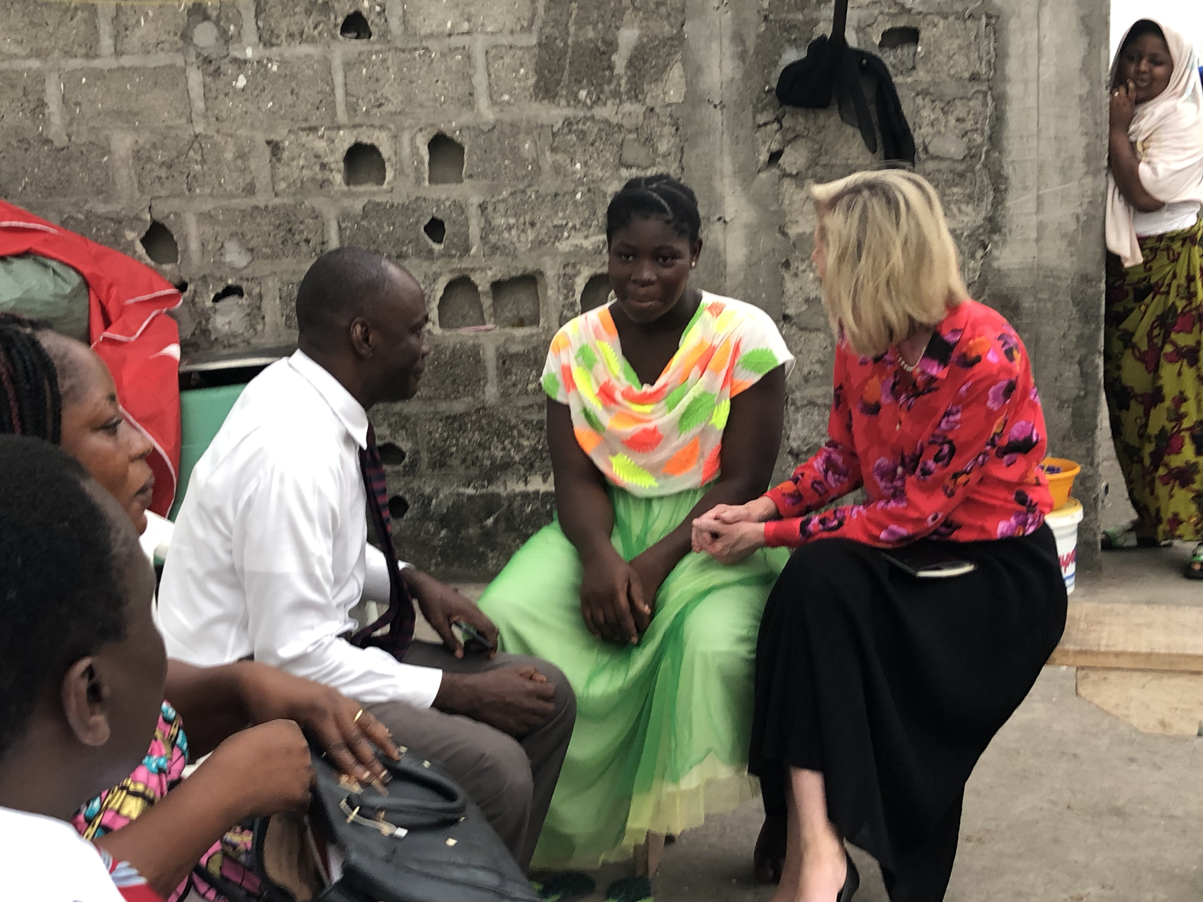 Sister Bonnie H. Cordon, Young Women general president, makes a home visit to 17-year-old Akpan Prisca, who was recently baptized, in Abidjan, Côte d'Ivoire, Friday, March 8, 2019.