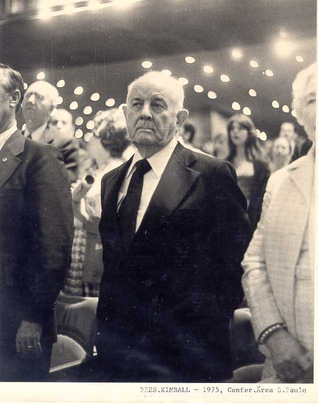LDS Church President Spencer W. Kimball attends the 1975 São Paulo Area Conference in São Paulo, Brazil.