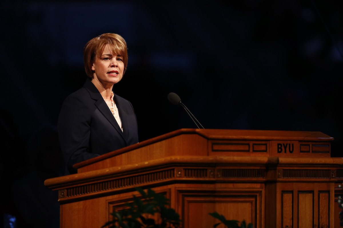 Sister Sharon Eubank, first counselor in the Relief Society general presidency, offers the opening keynote address of BYU Women's Conference on Thursday, May 4.