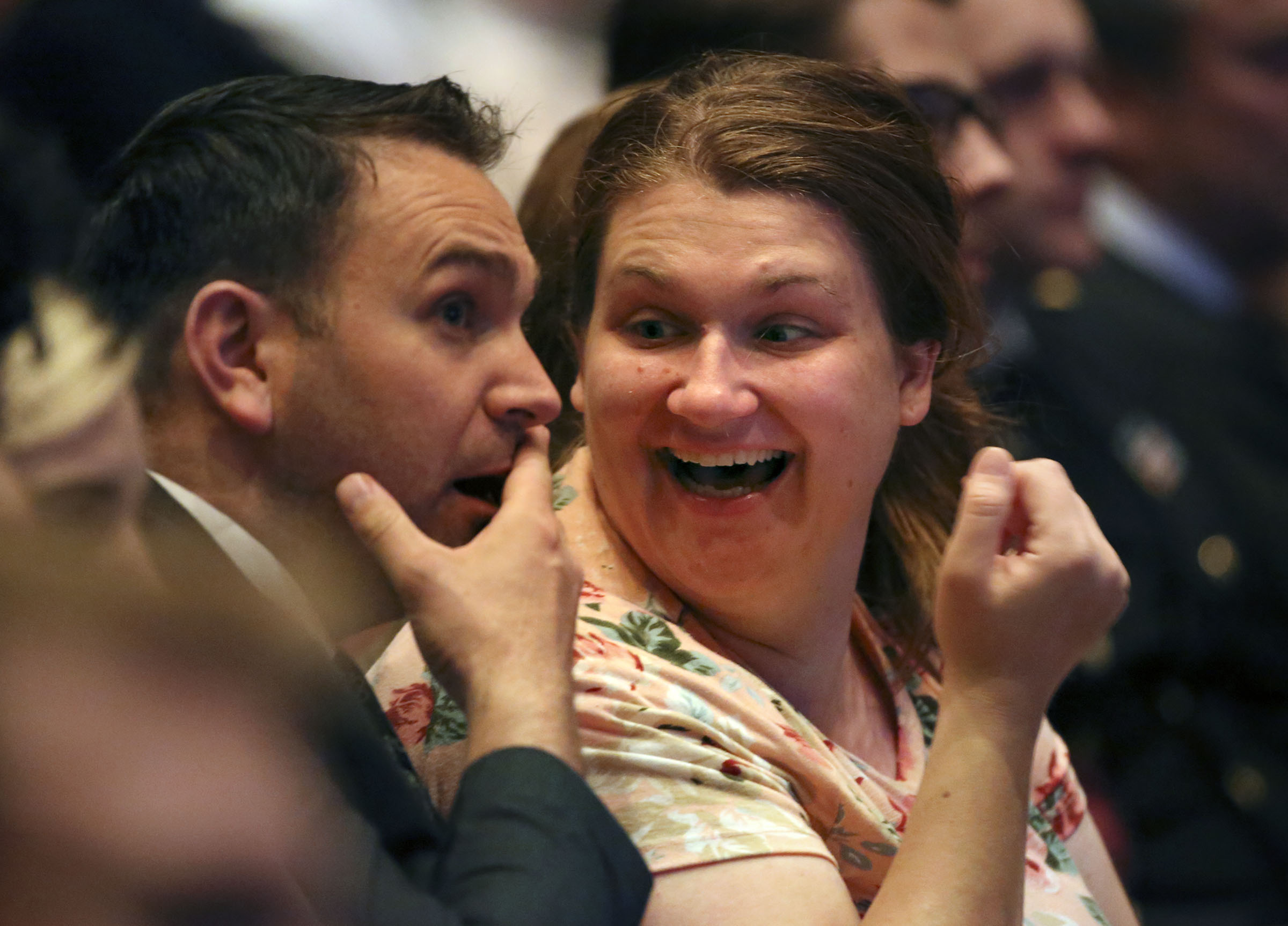 Erik Ramsay and Amy Ramsay react to the announcement of 12 new temples during the Sunday afternoon session of the 188th Semiannual General Conference of The Church of Jesus Christ of Latter-day Saints in the Conference Center in downtown Salt Lake City on Sunday, Oct. 7, 2018.