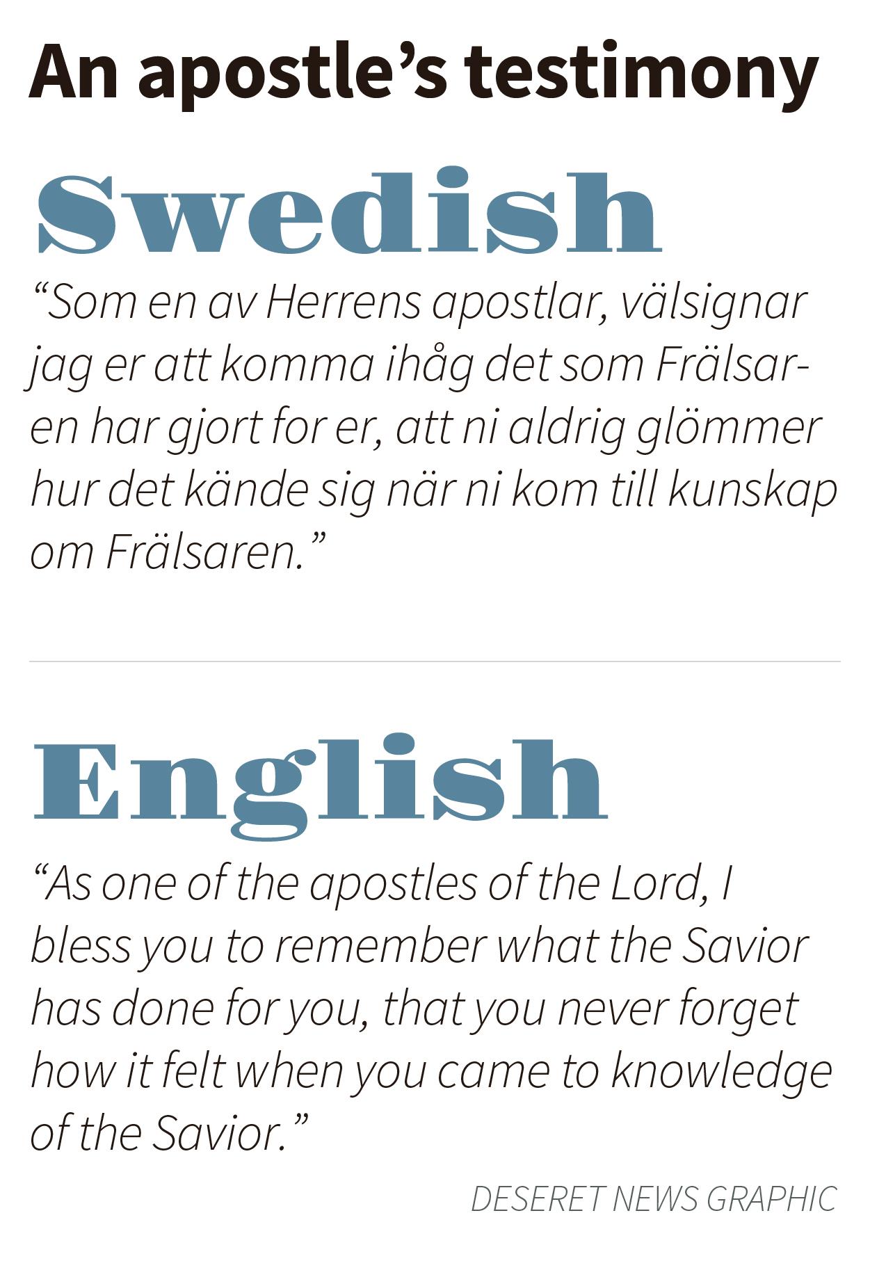 Elder Renlund's testimony in Swedish, with an English translation