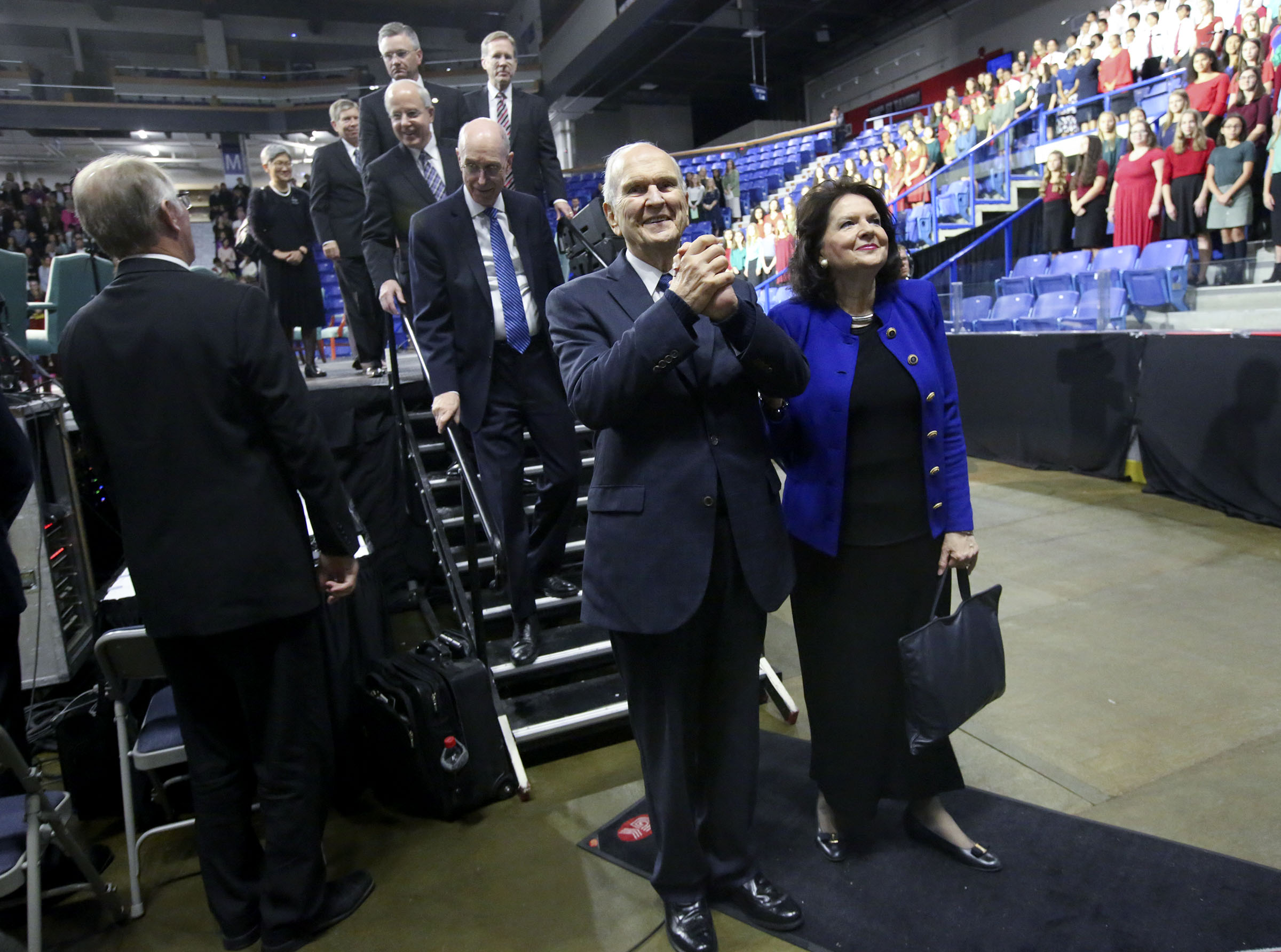 President Russell M. Nelson of The Church of Jesus Christ of Latter-day Saints and his wife, Sister Wendy Nelson, leave the Langley Events Center after speaking in Langley, British Columbia, on Sunday, Sept. 16, 2018.