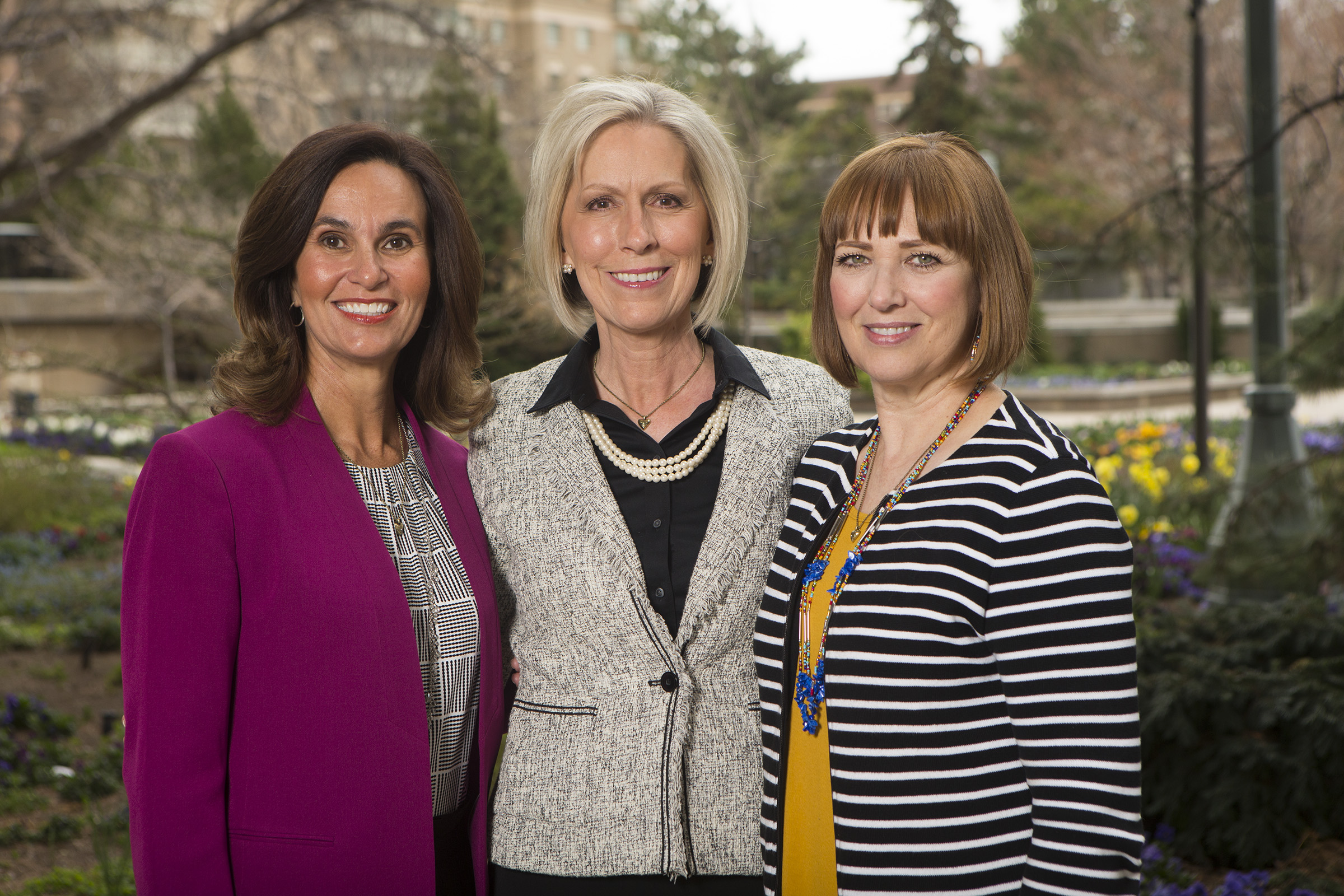 Sister Joy D. Jones, Primary general president with her counselors: Sister Lisa L. Harkness, first counselor, and Sister Cristina B. Franco, second counselor, in Salt Lake City on Monday, April 2, 2018.